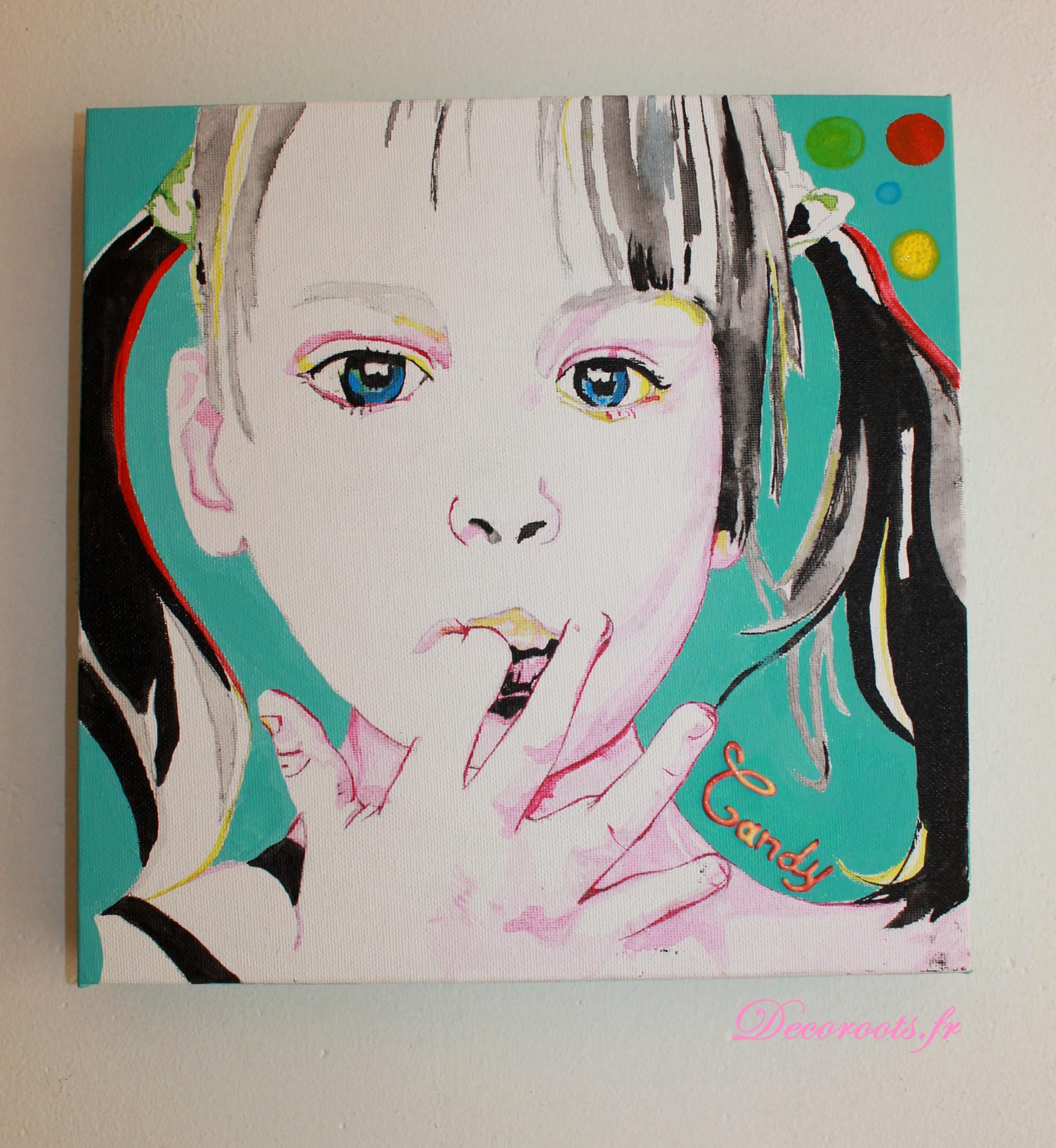 tableau artiste contemporain enfant gourmand