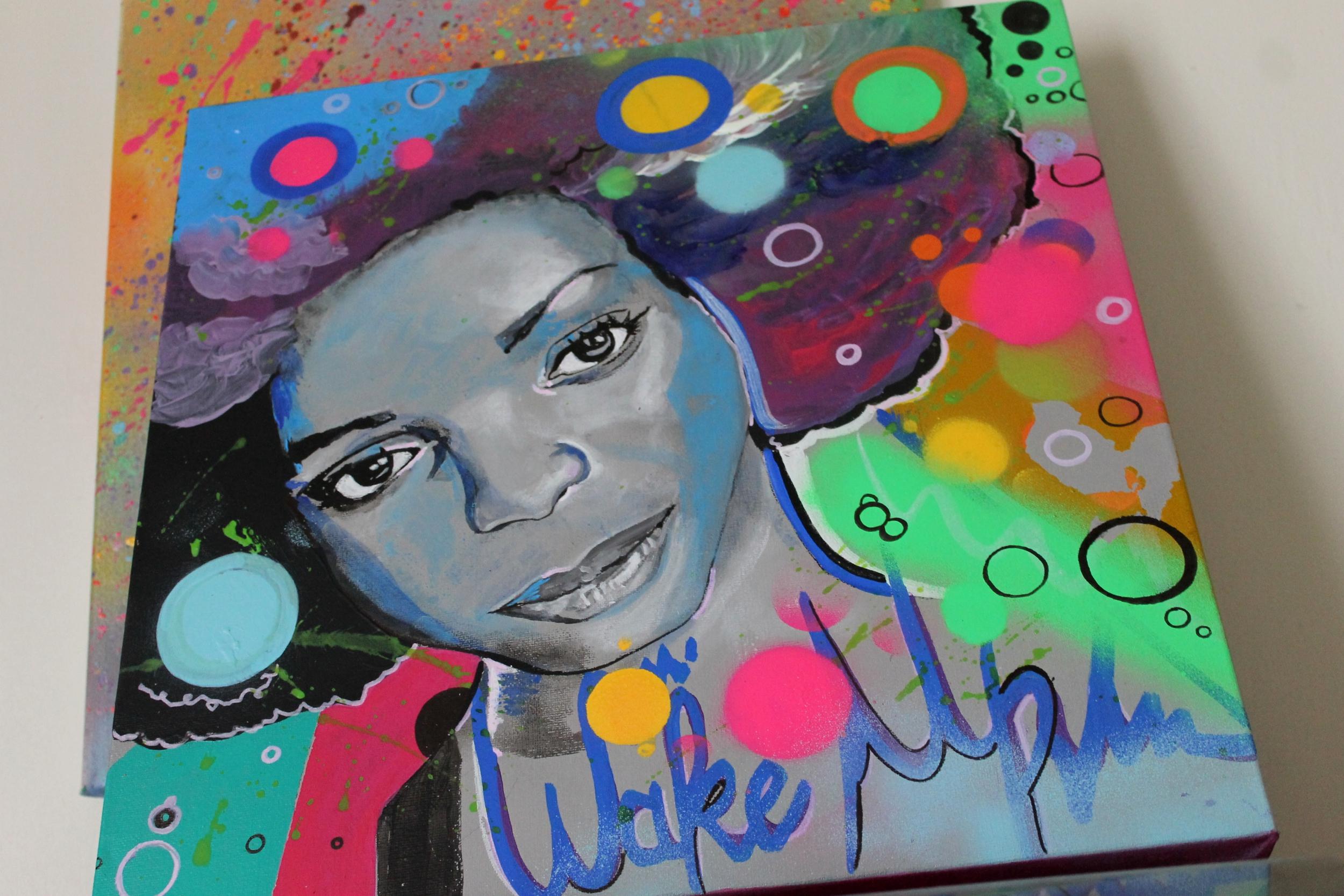 Super Tableau street art pop: wake uuuuuuuuuuuuuup réveille toi  UA78