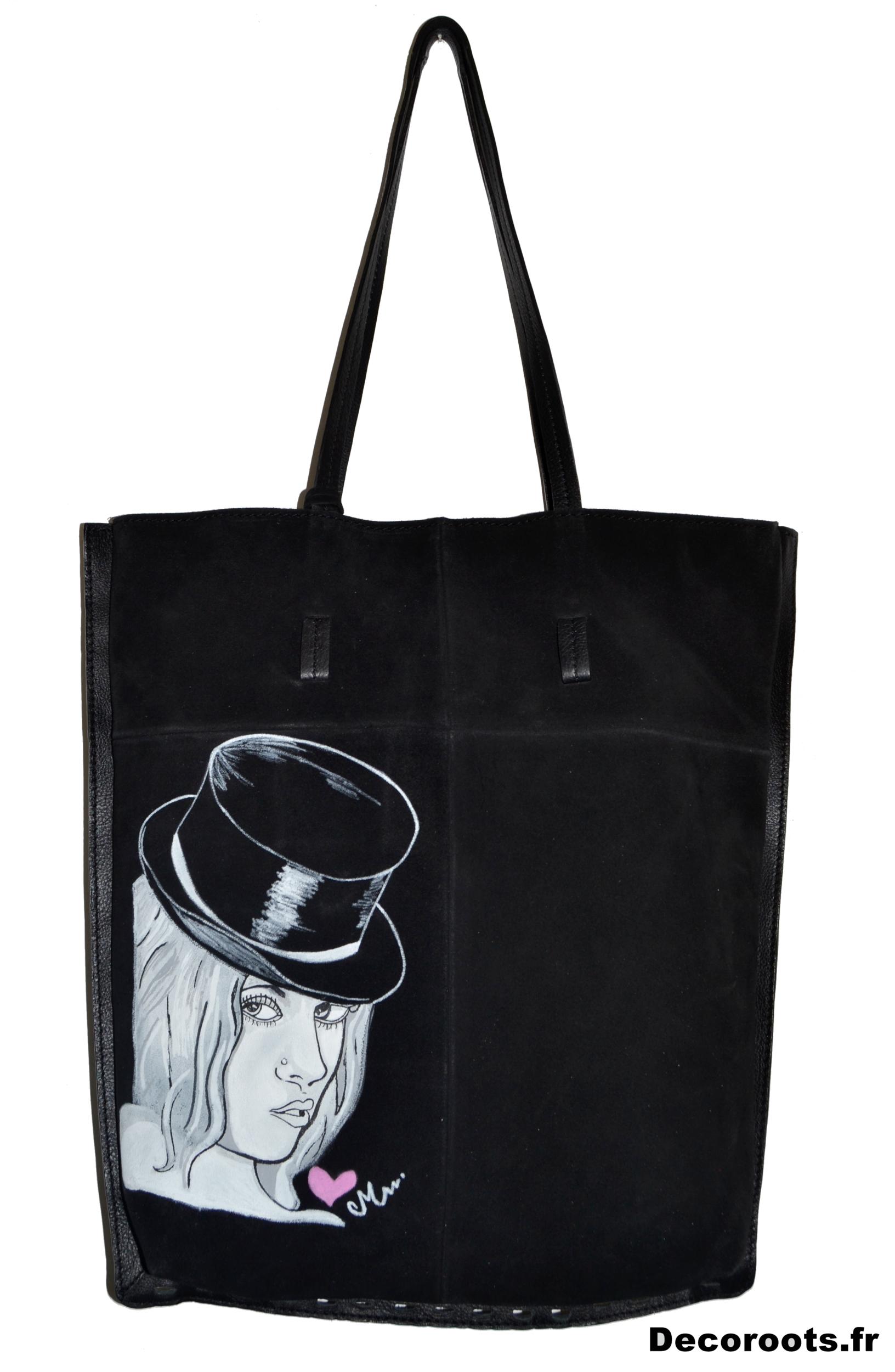 sac cuir femme peint à la main art artiste visage chapeau melon coeur 22