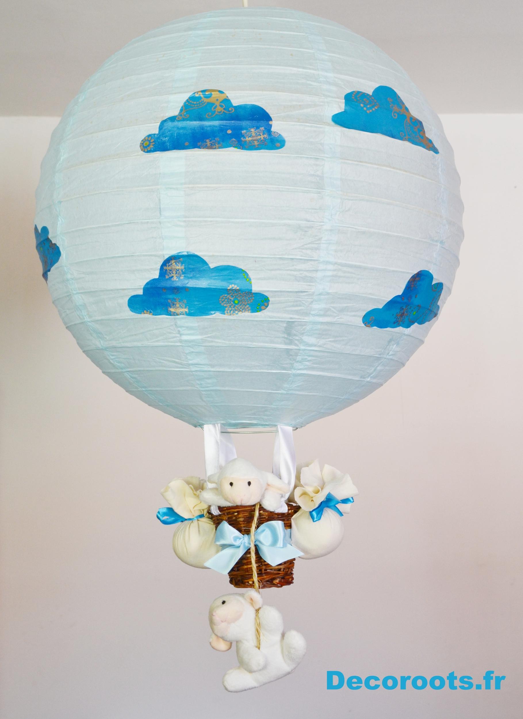 Lampe montgolfi re mouton nuage enfant b b luminaire for Lampe de chevet bebe fille