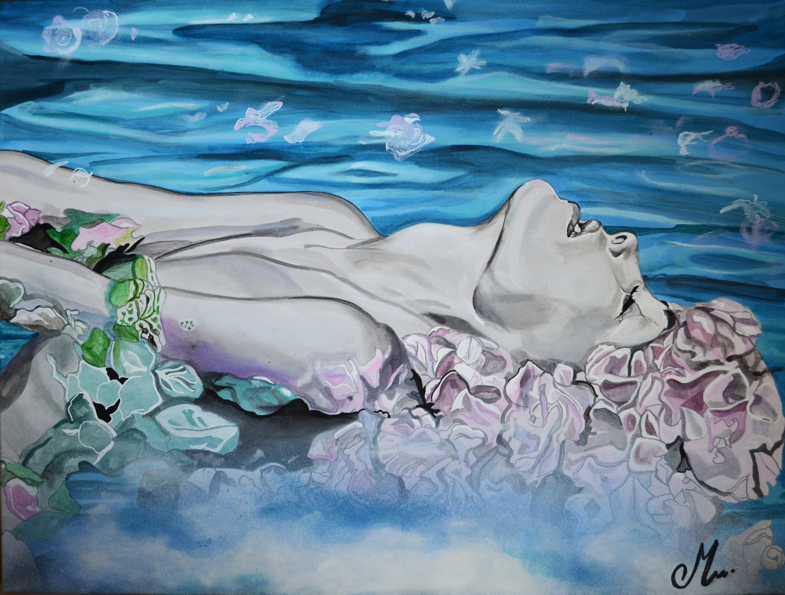 affiche au fil de l'eau art artiste contemporain femme fleur