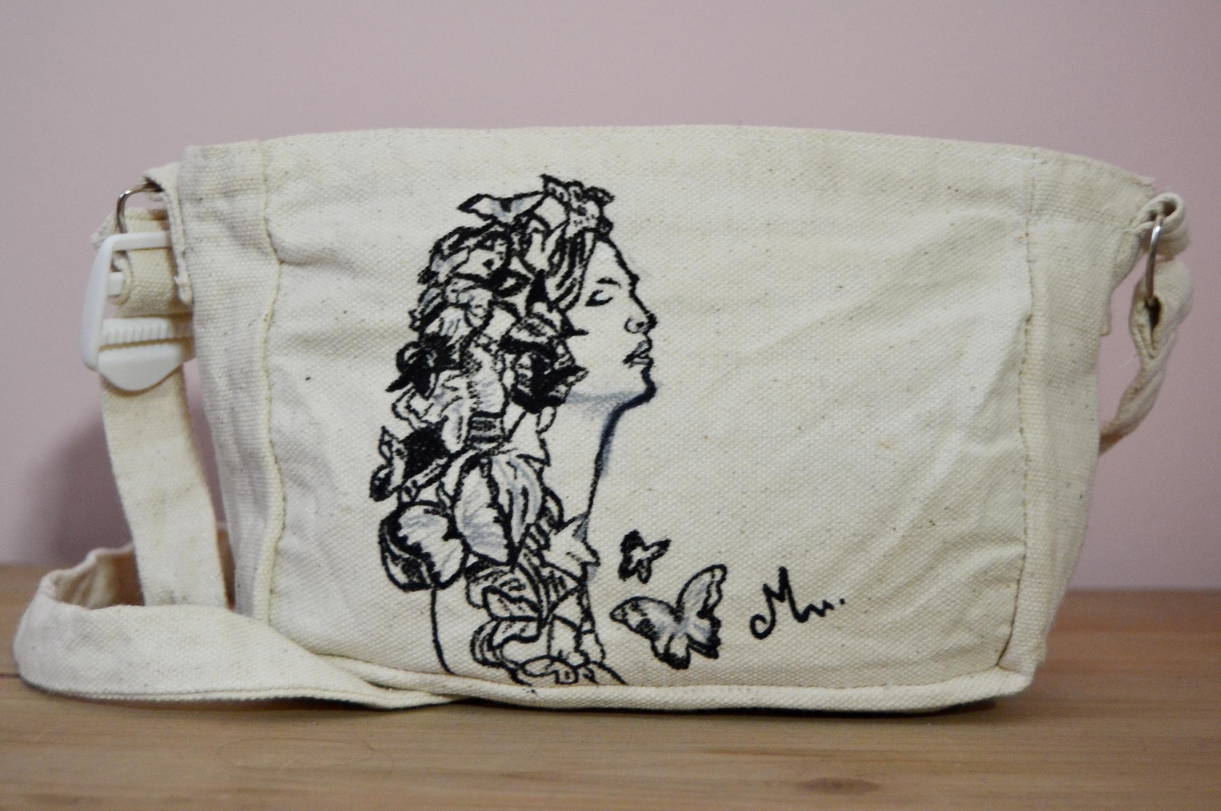 sac à main femme coton toile peint main artiste