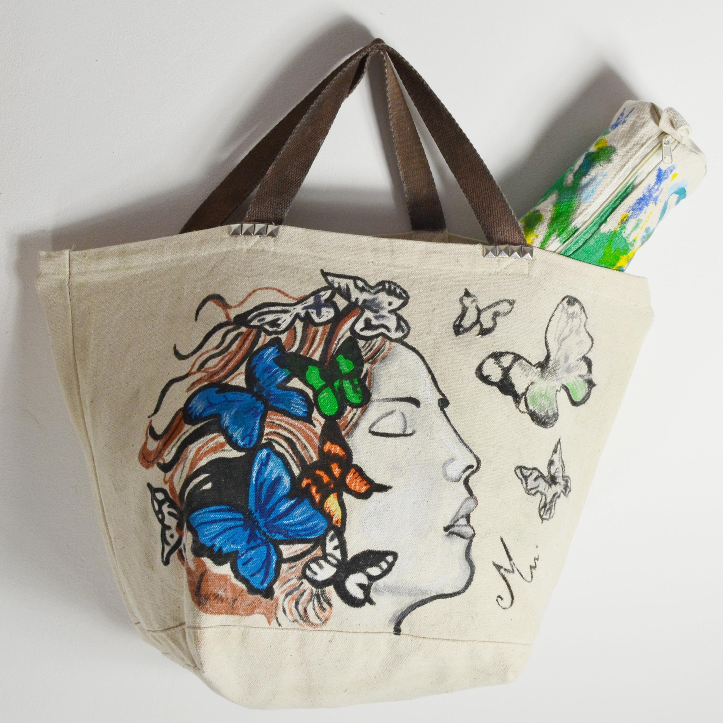 7d7f3315a8 sac coton peint à la main écru et multicolore sweet - Sacs textiles ...
