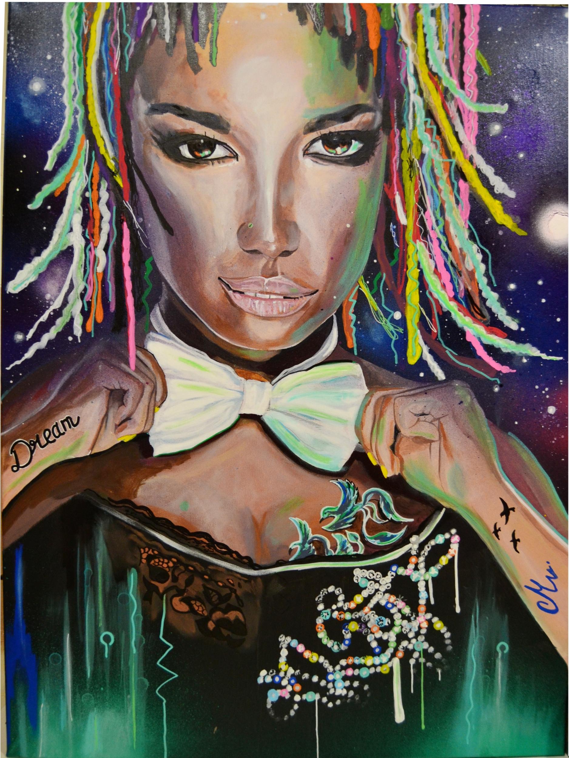 tableau art contemporain femme noire couleur nuit cosmos crazy dream