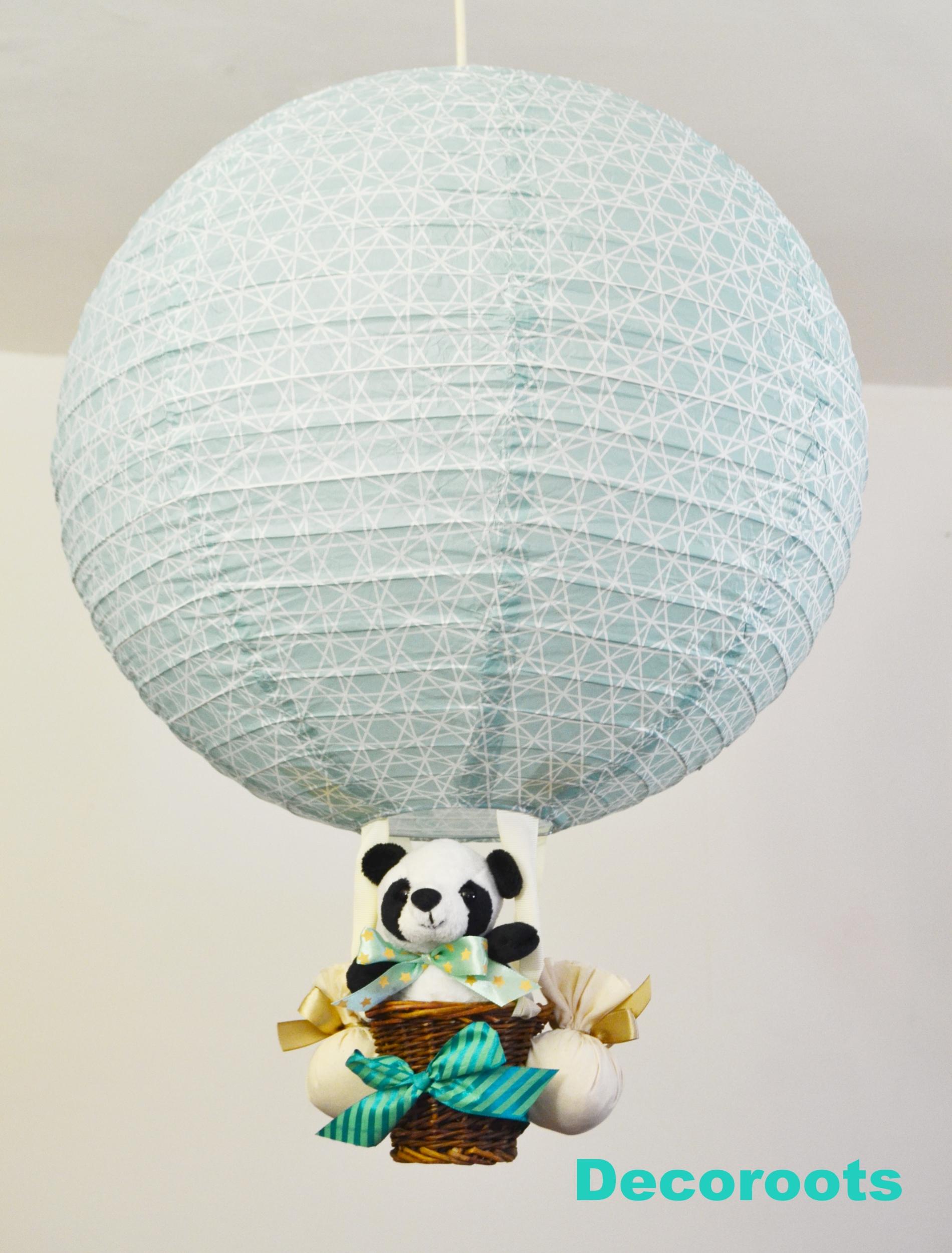 lampe montgolfière enfant bébé garçon panda bleu turquoise pastel