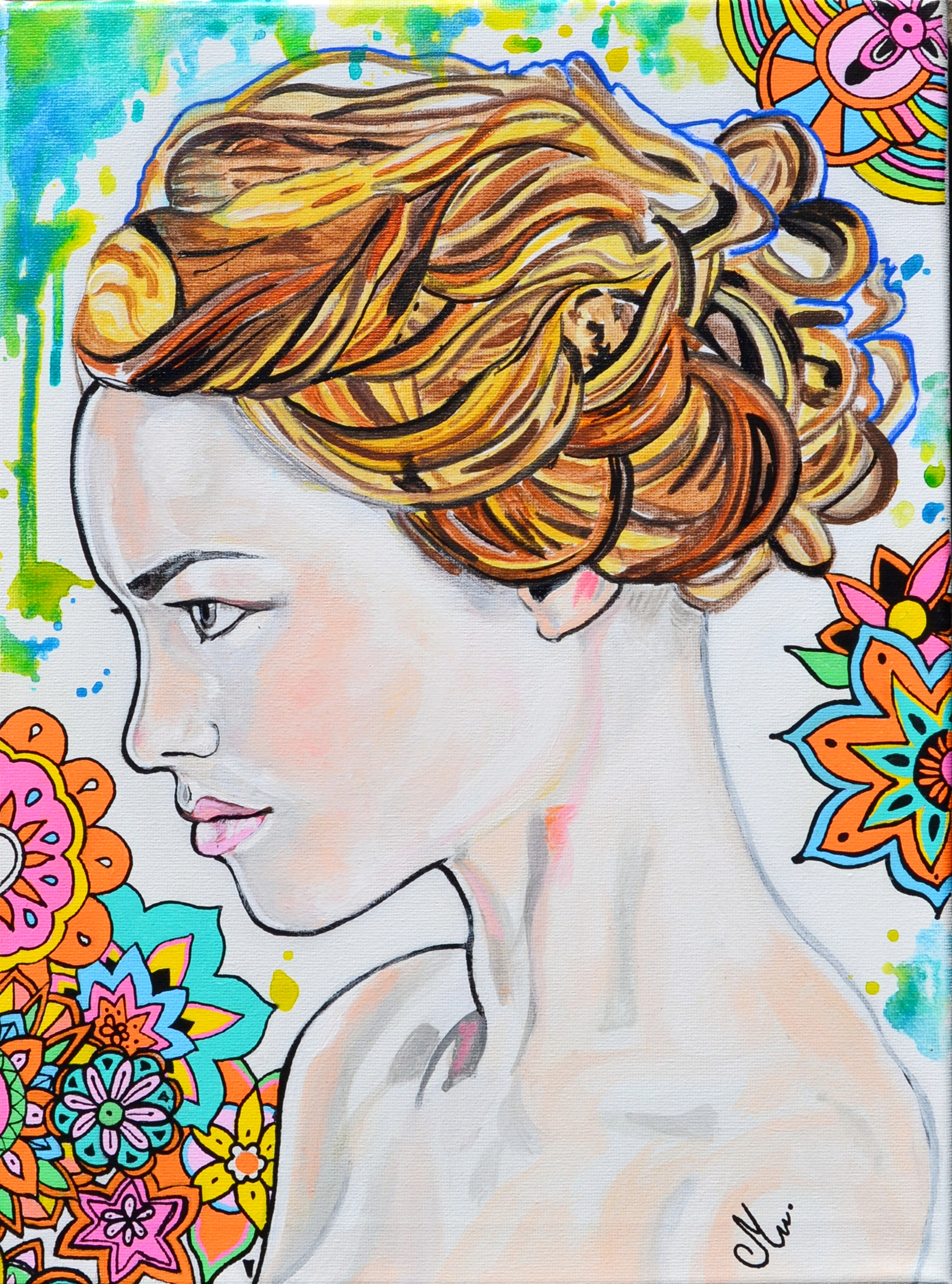 tableau art decoration artiste femme fleur tache peinture multicolore