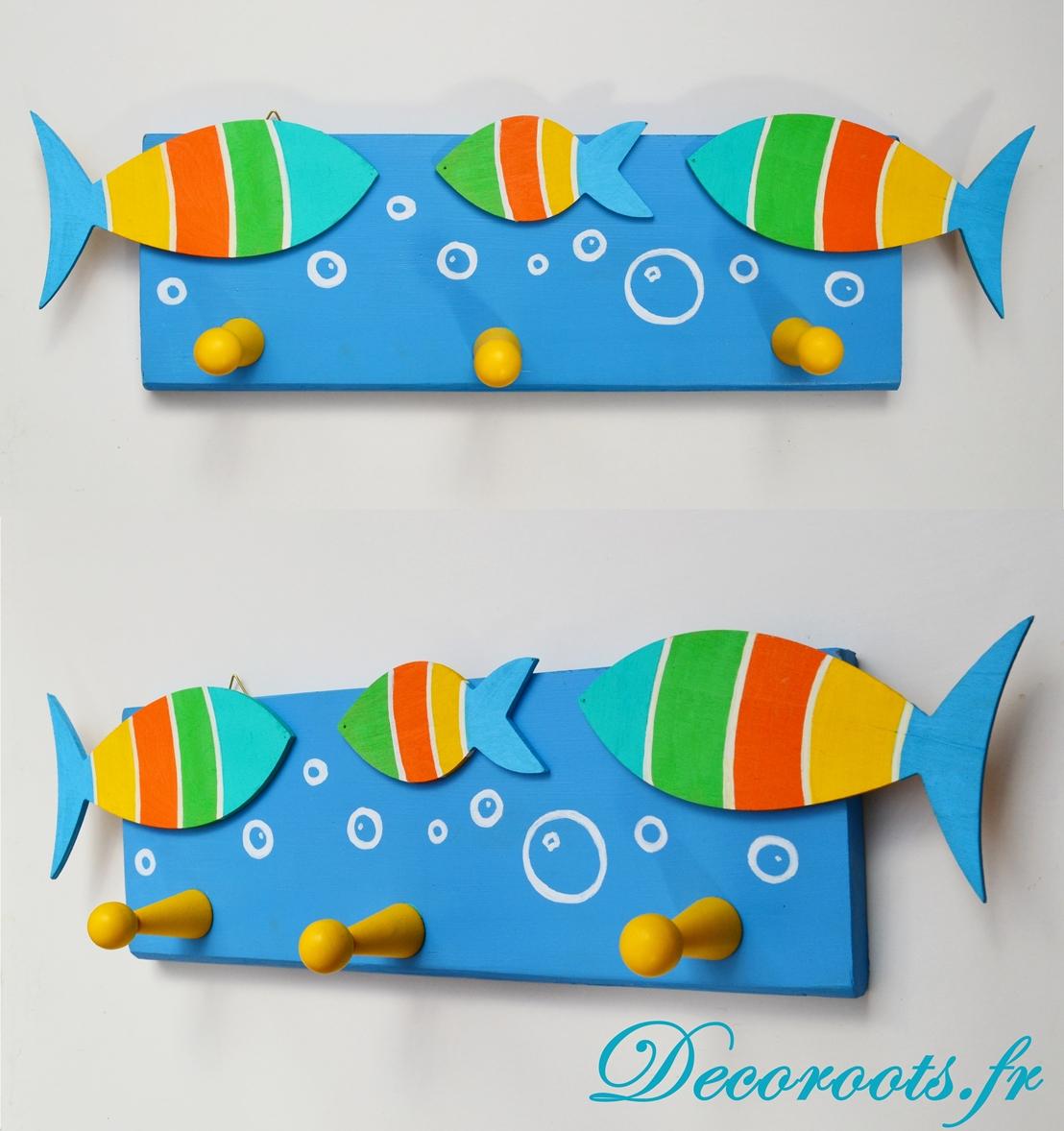 porte manteau poisson thème mer marin marine bord de mer bleu turquoise vert orange jaune 3