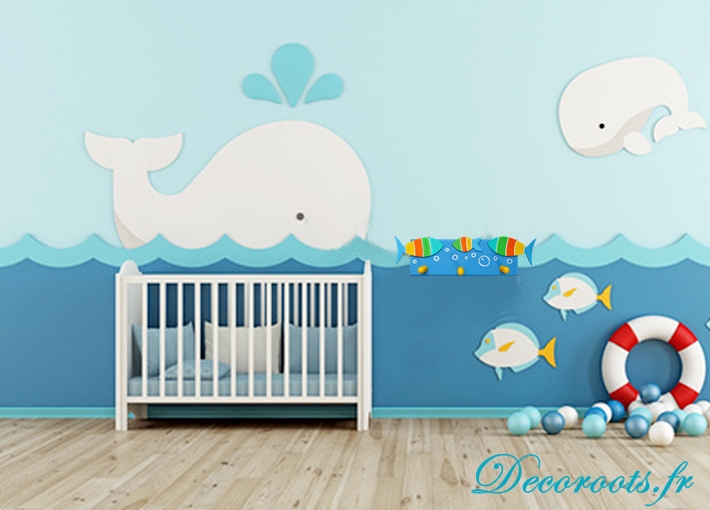 porte manteau enfant b b poissons multicolores enfant. Black Bedroom Furniture Sets. Home Design Ideas