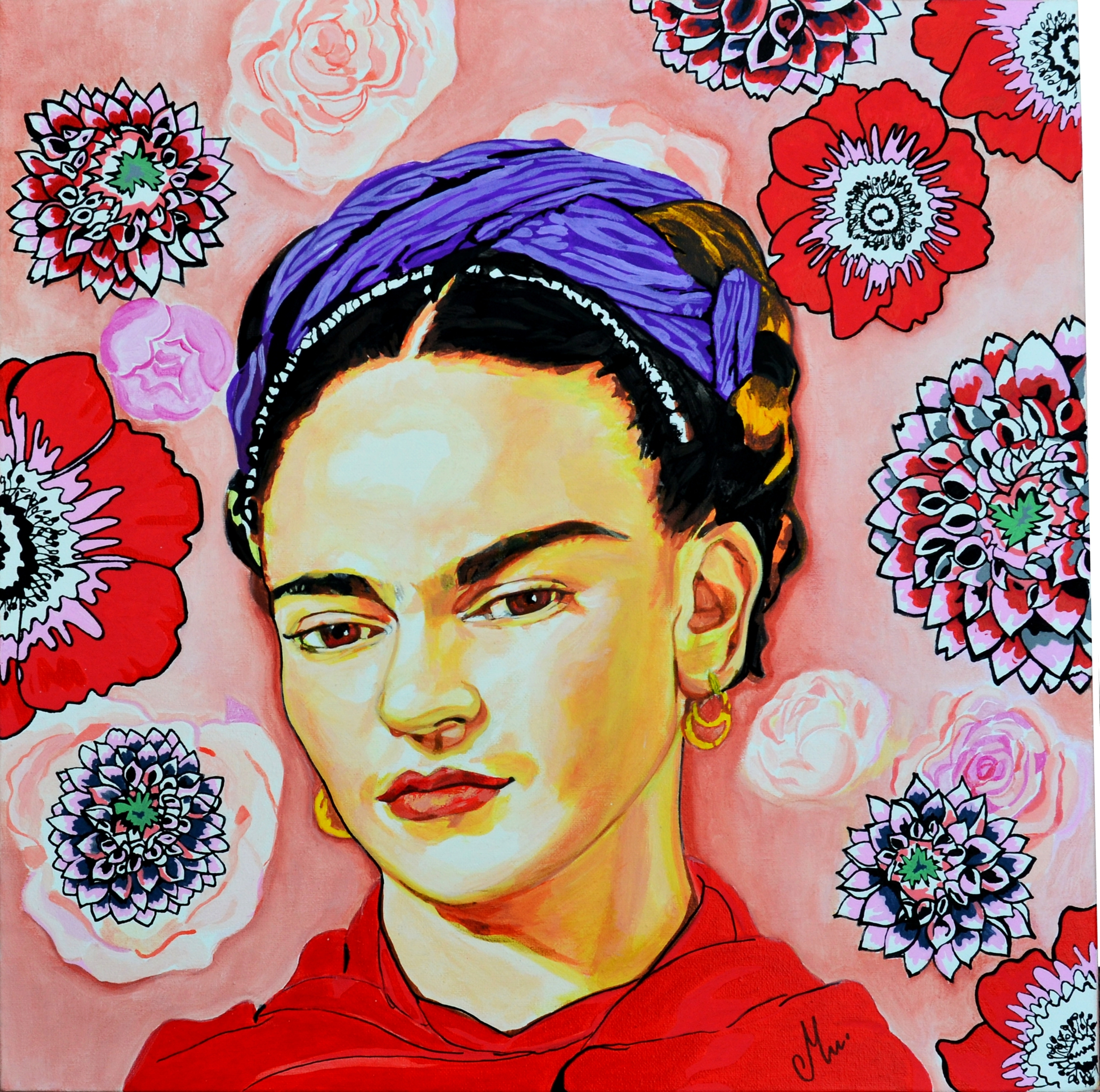 tableau portrait de frida kalho art design contemporain tableau art design abstrait et. Black Bedroom Furniture Sets. Home Design Ideas