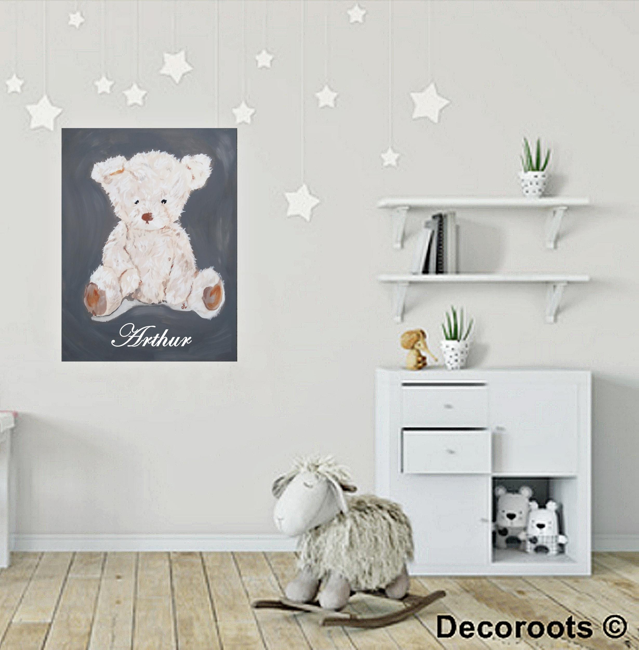 tableau déco enfant ours personnalisable prénom gris