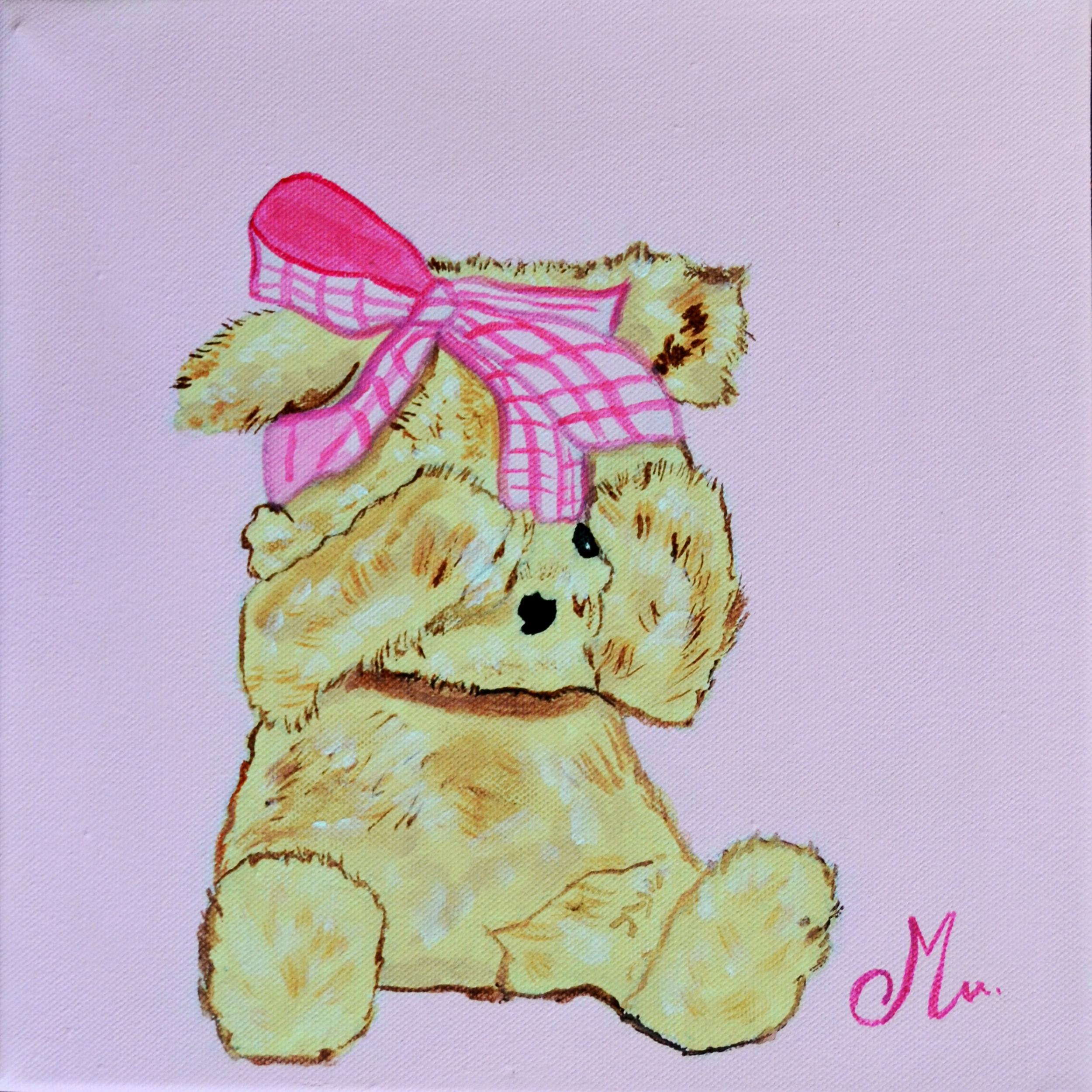 tableau enfant bébé ours rose peint main decoration beige