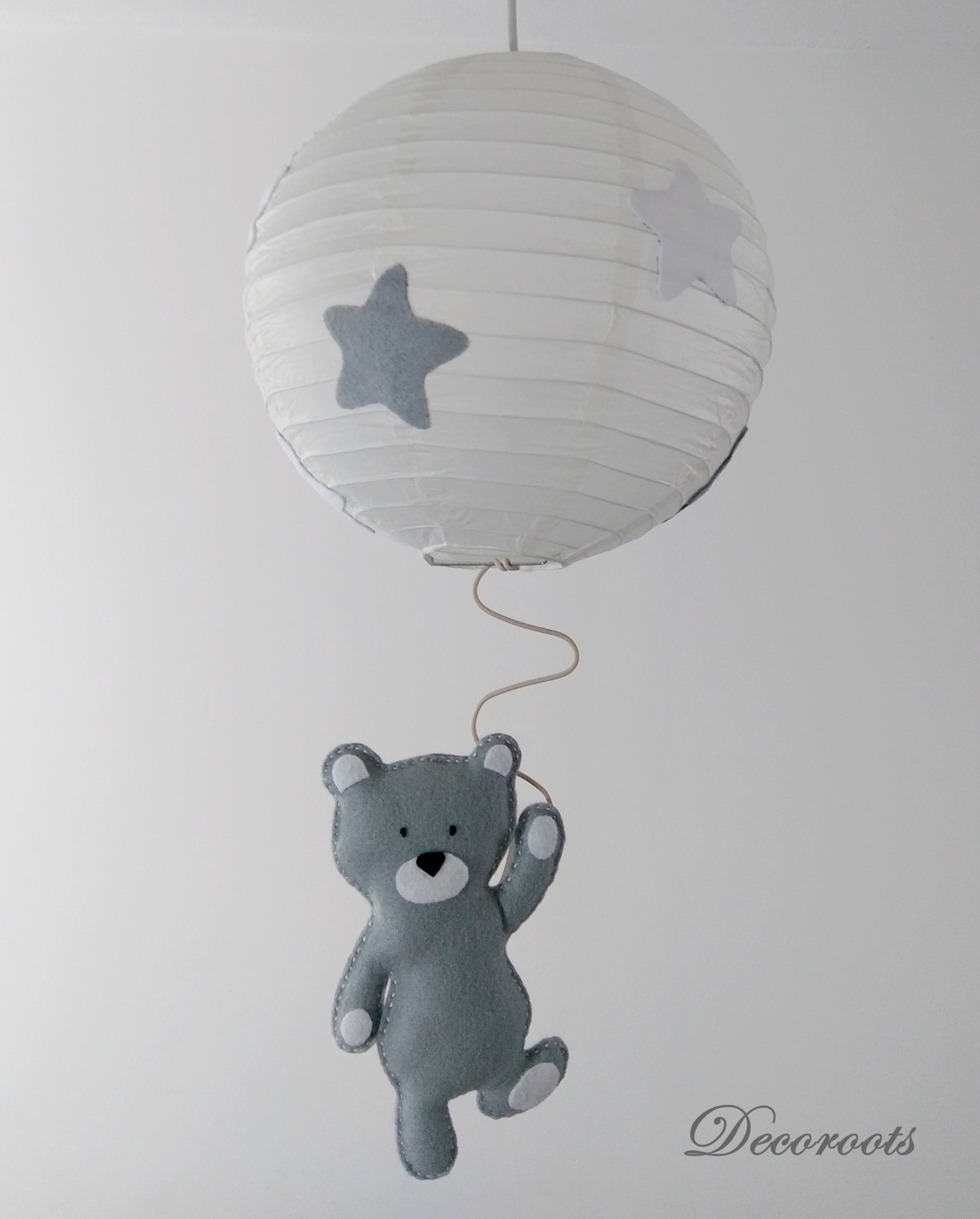 Lustre suspension ours tom gris blanc enfant b b for Lustre chambre bebe garcon