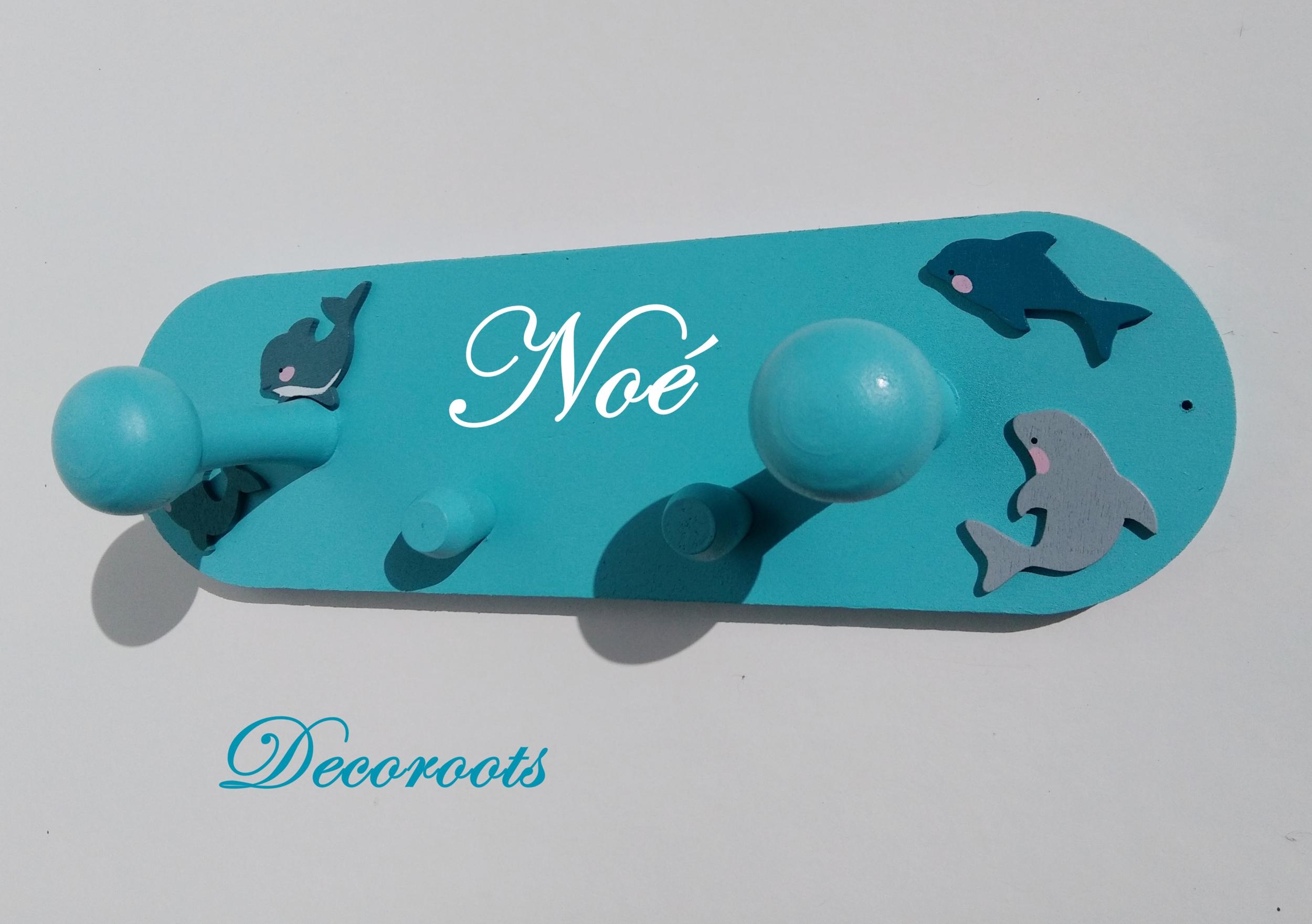 porte manteau poisson thème mer marin marine bord de mer bleu turquoise dauphin chambre enfant