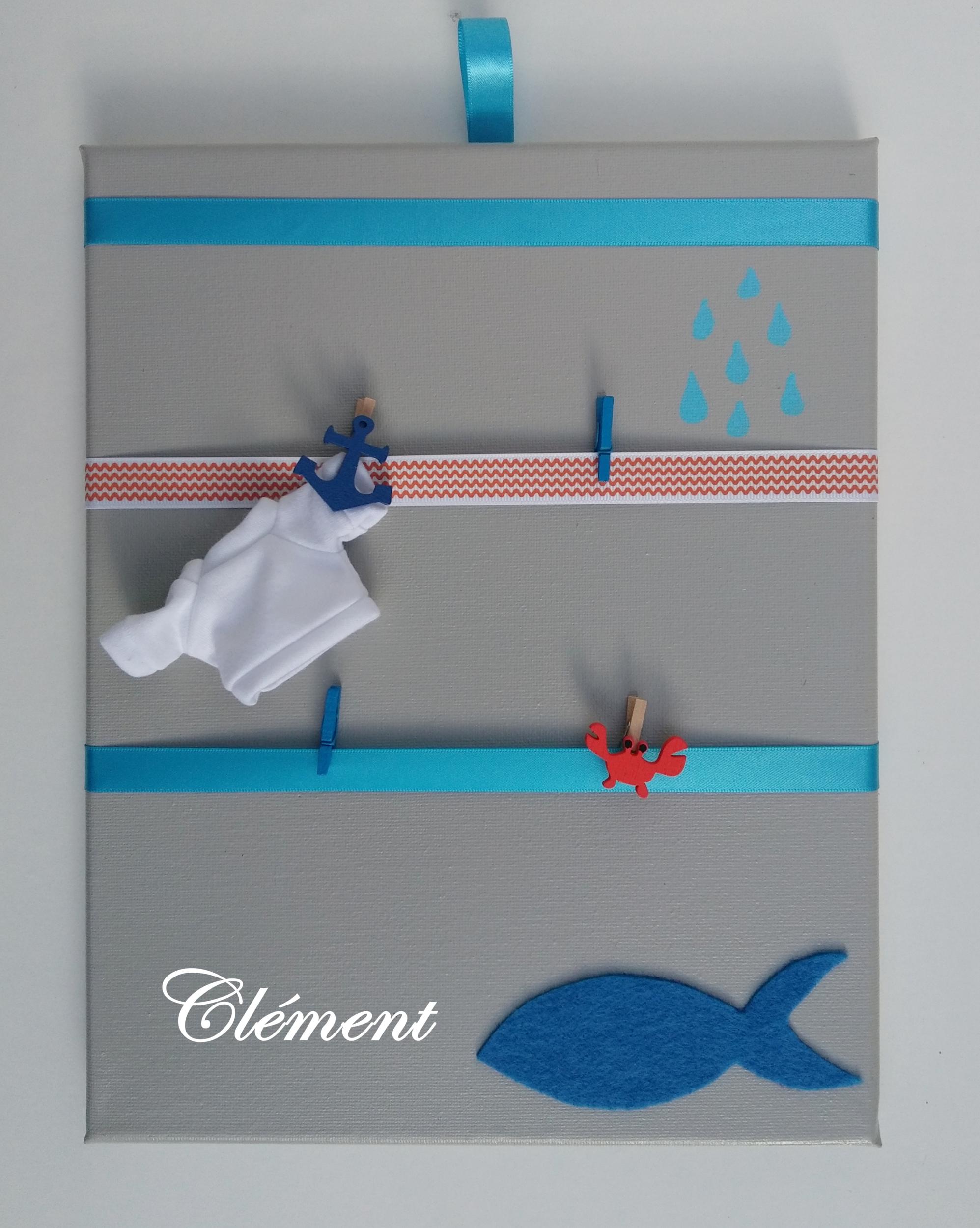 pele mele enfant bébé gris turquoise mer marin prénom décoration
