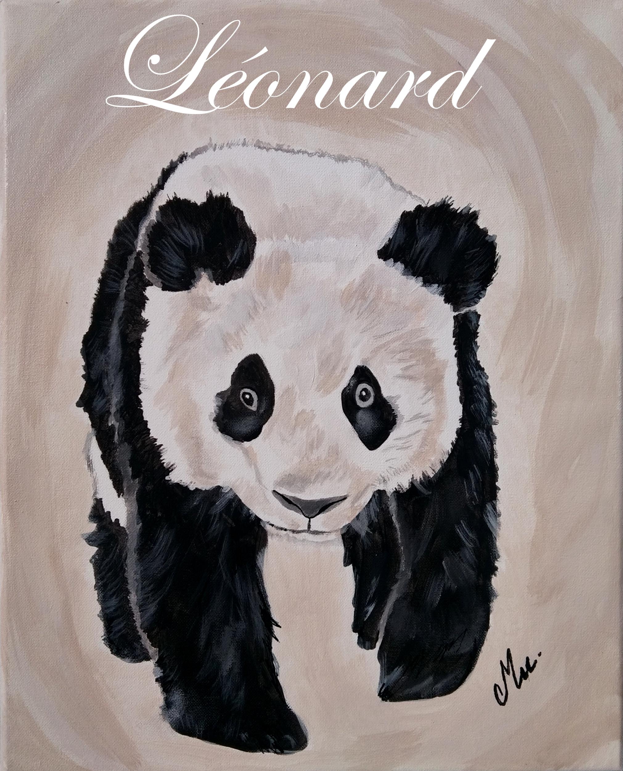 tableau enfant bébé panda décoration beige noir et blanc prénom
