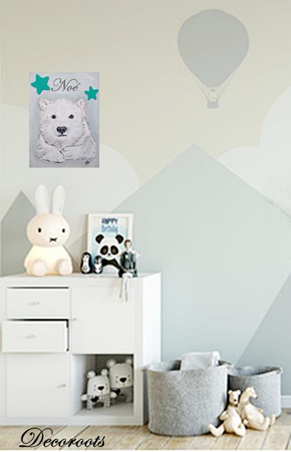 tableau déco enfant bébé ours polaire bleu beige - Enfant ...