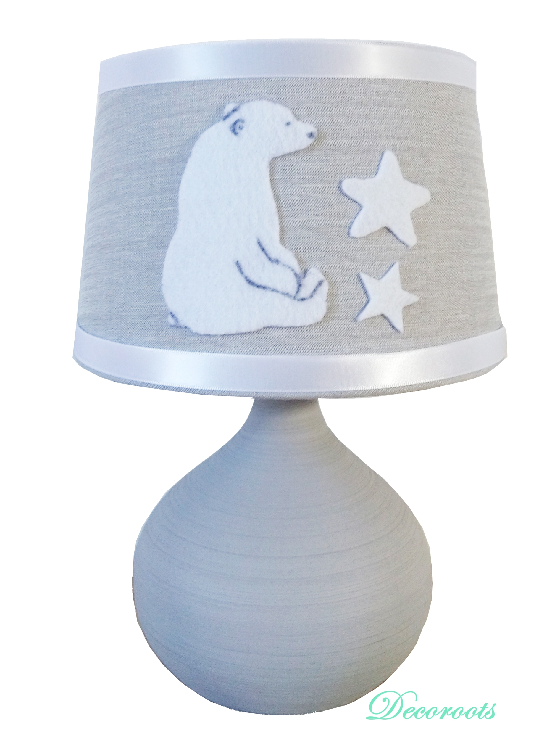 lampe de chevet ours polaire gris blanc enfant b b luminaire enfant b b decoroots. Black Bedroom Furniture Sets. Home Design Ideas