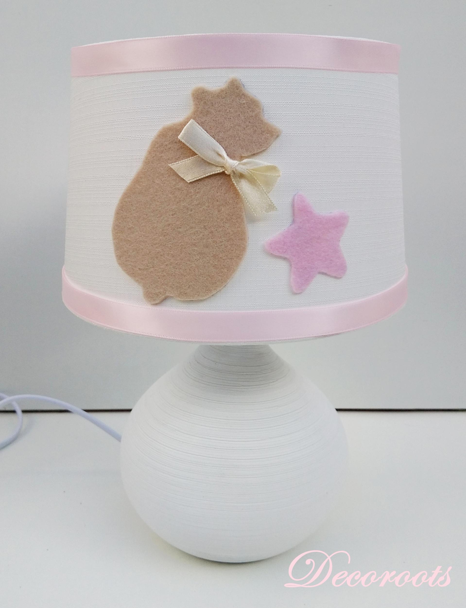 lampe de chevet fille ours blanc rose beige étoile
