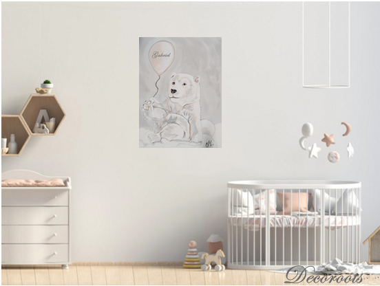 tableau enfant b b ours polaire dans les nuages enfant b b tableau enfant b b decoroots. Black Bedroom Furniture Sets. Home Design Ideas