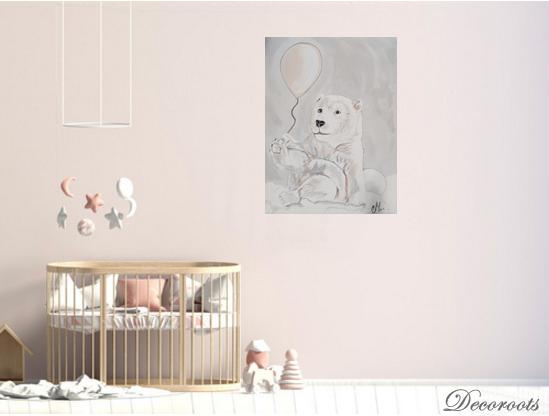 Tableau enfant b b ours polaire dans les nuages enfant - Decoration nuage chambre bebe ...