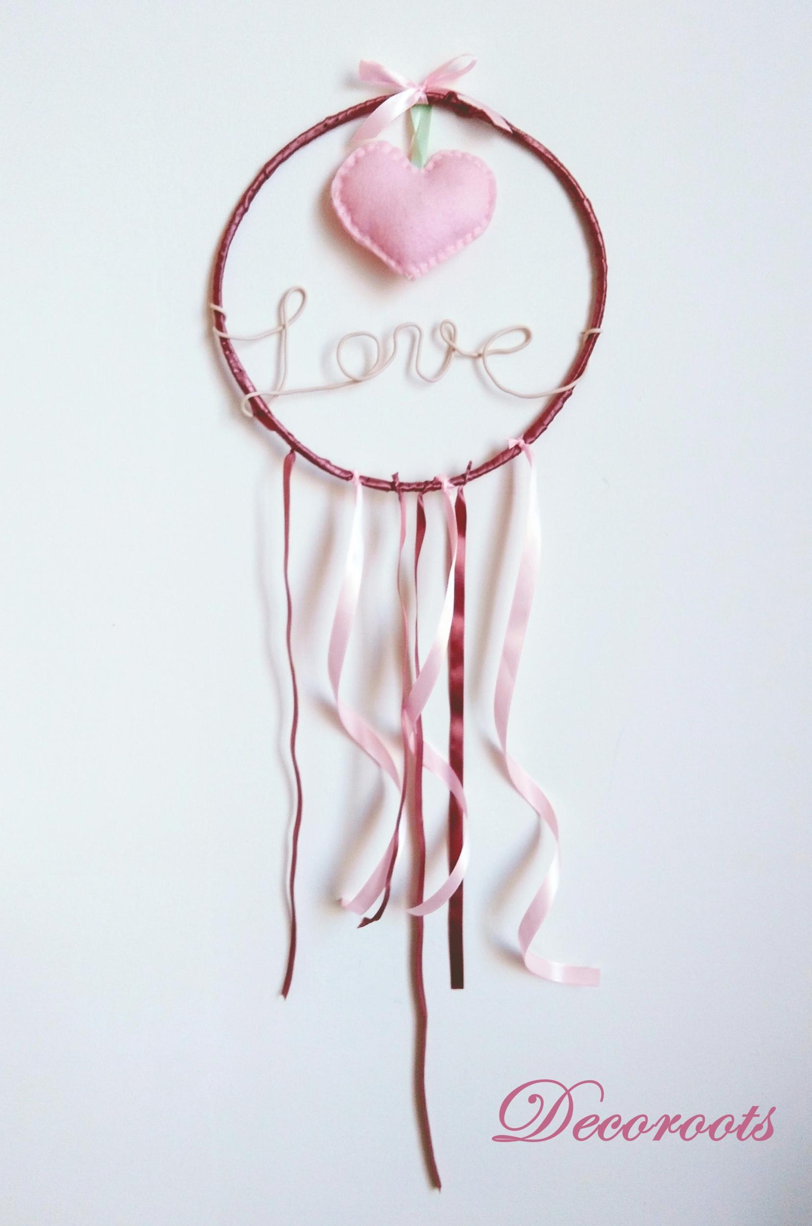 attrape rêve coeur vieux rose pastel love écriture