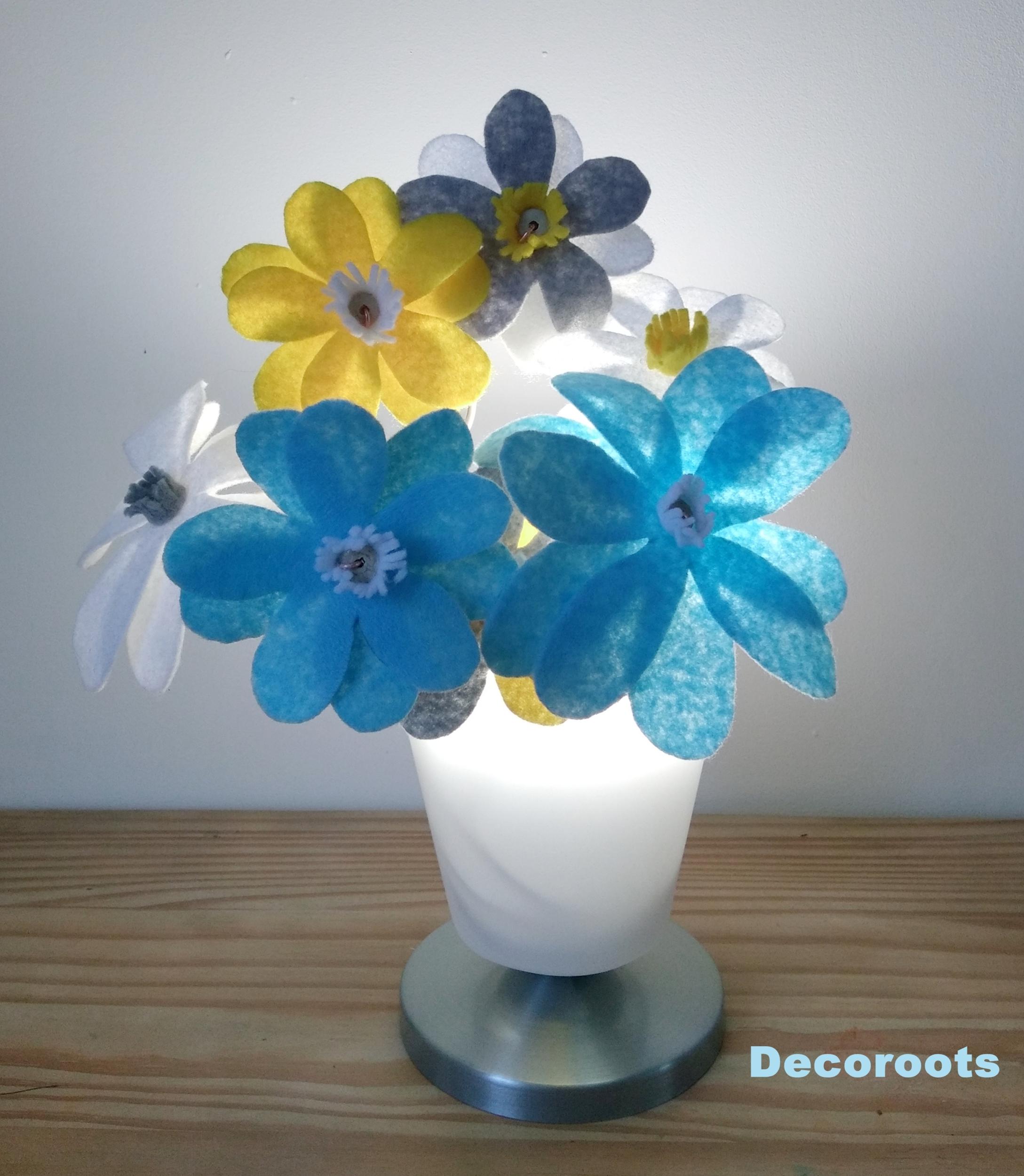 lampe chevet enfant bébé mixte garçon fille fleurs kawaï jaune bleu gris blanc luminaire