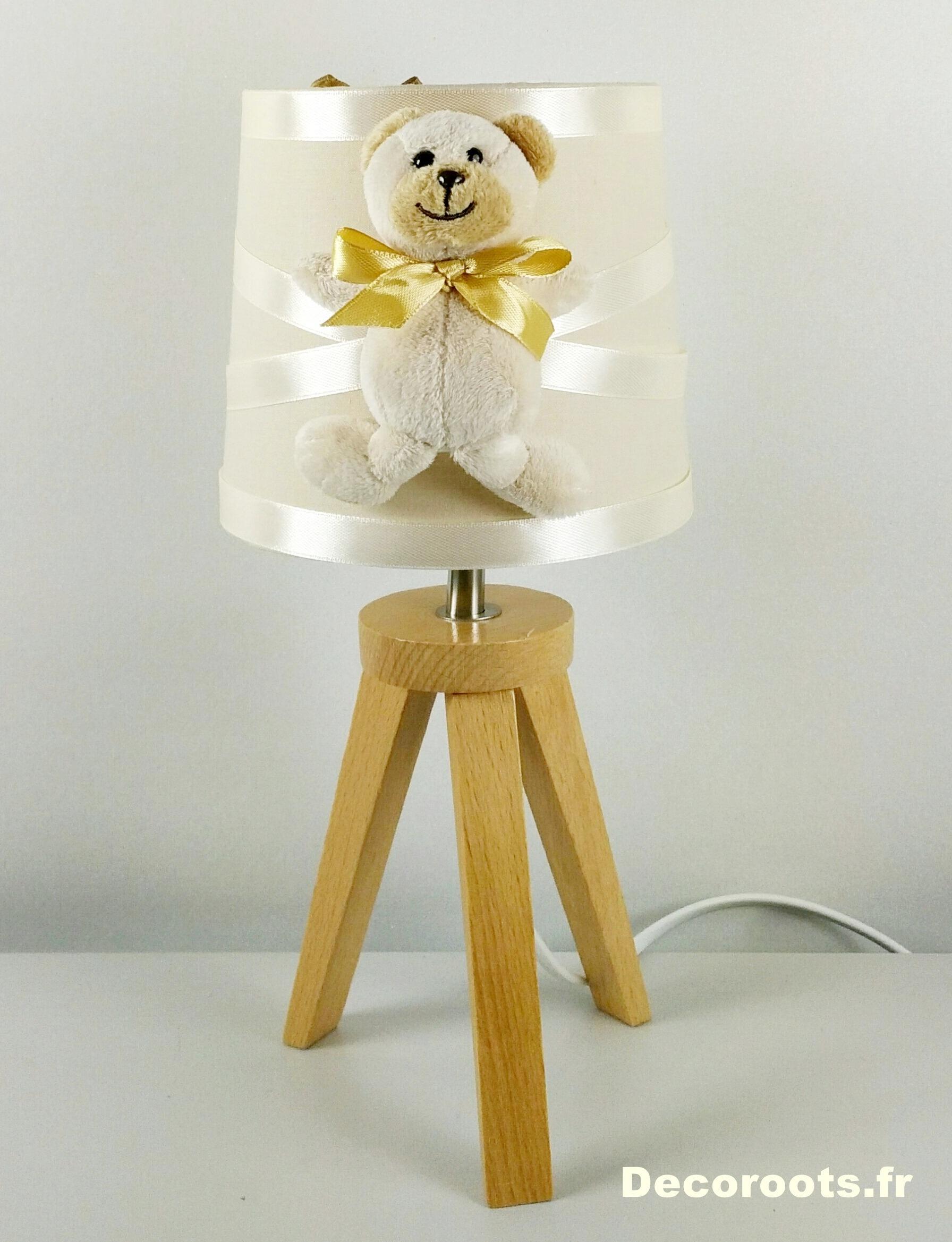 lampe de chevet enfant bebe ours beige mixte bois