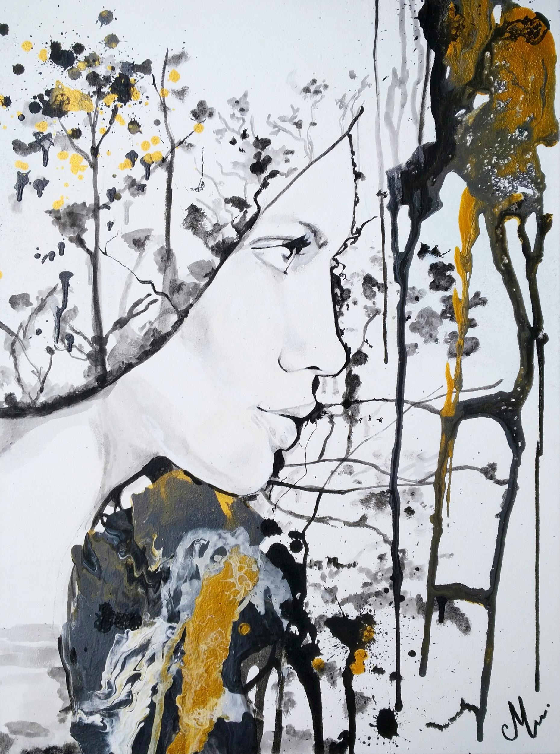 tableau art contemporain design femme visage noir et blanc or pluie