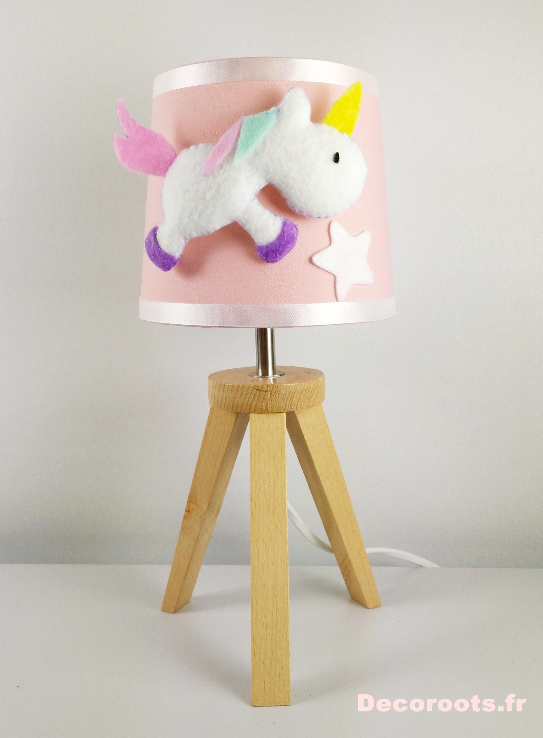 lampe de chevet fille licorne rose blanc