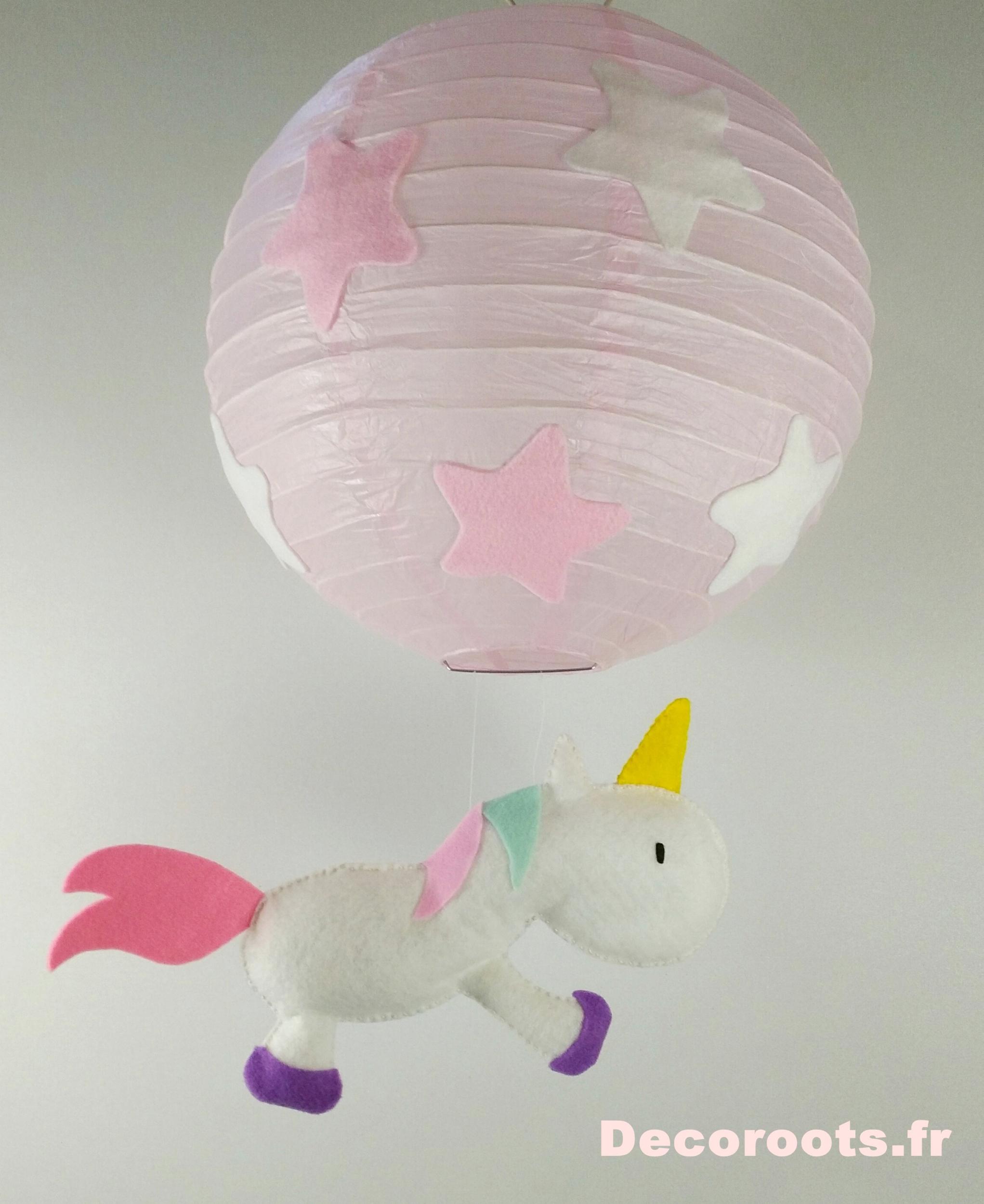 lampe lustre licorne luminaire étoile rose blanc fille décoration