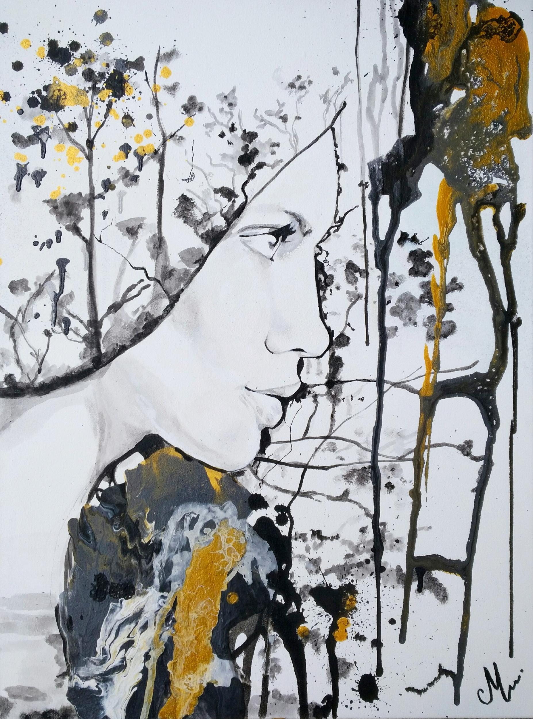 affiche noir blanc doré femme artiste
