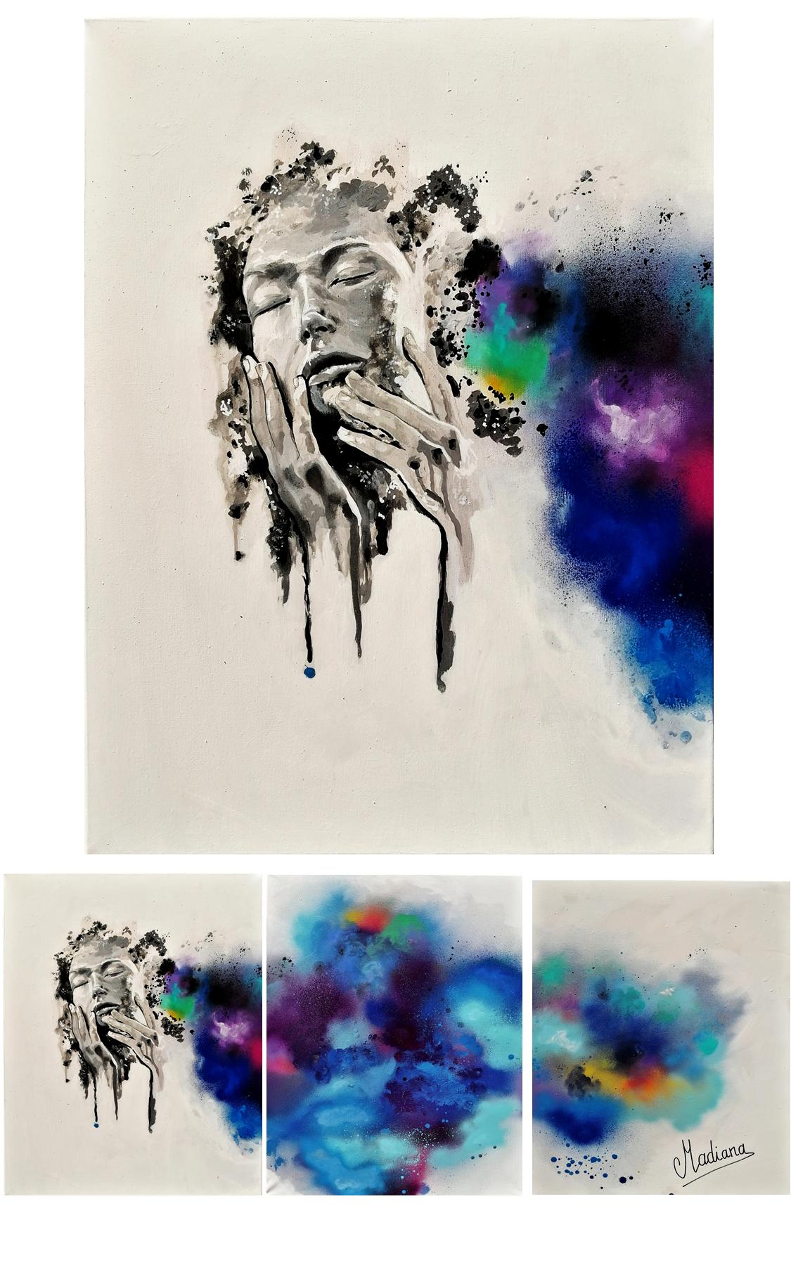 tableau design contemporain art peint  à la main poussière décoration