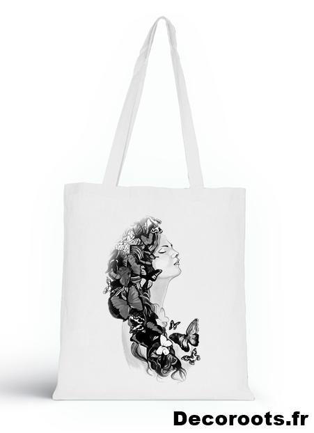 tote bag sweet paradise noir et blanc