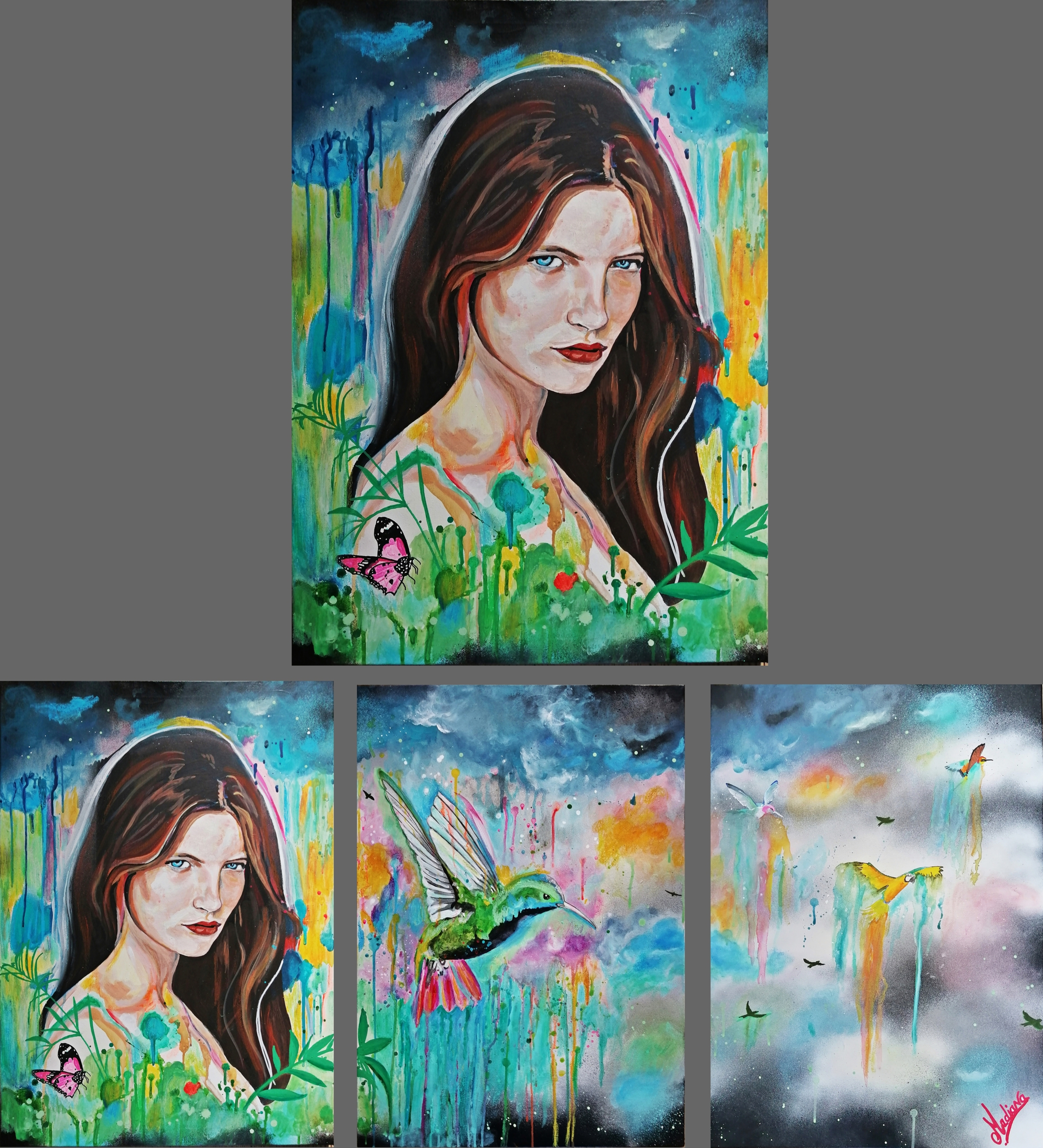 tableau art design contemporain nature femme oiseau colibri 5