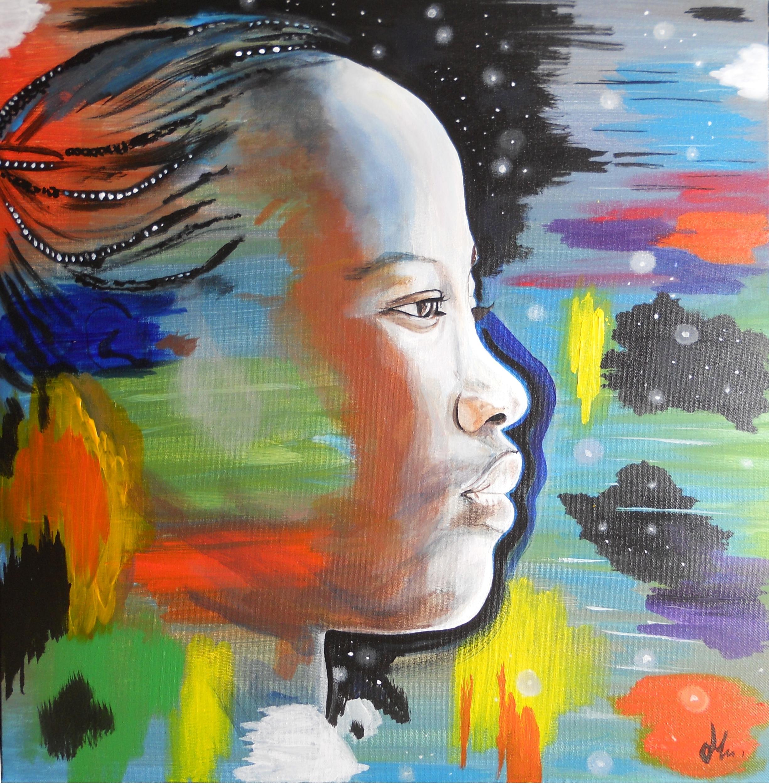 impression photo art au commencement ethnique afrique femme africaine