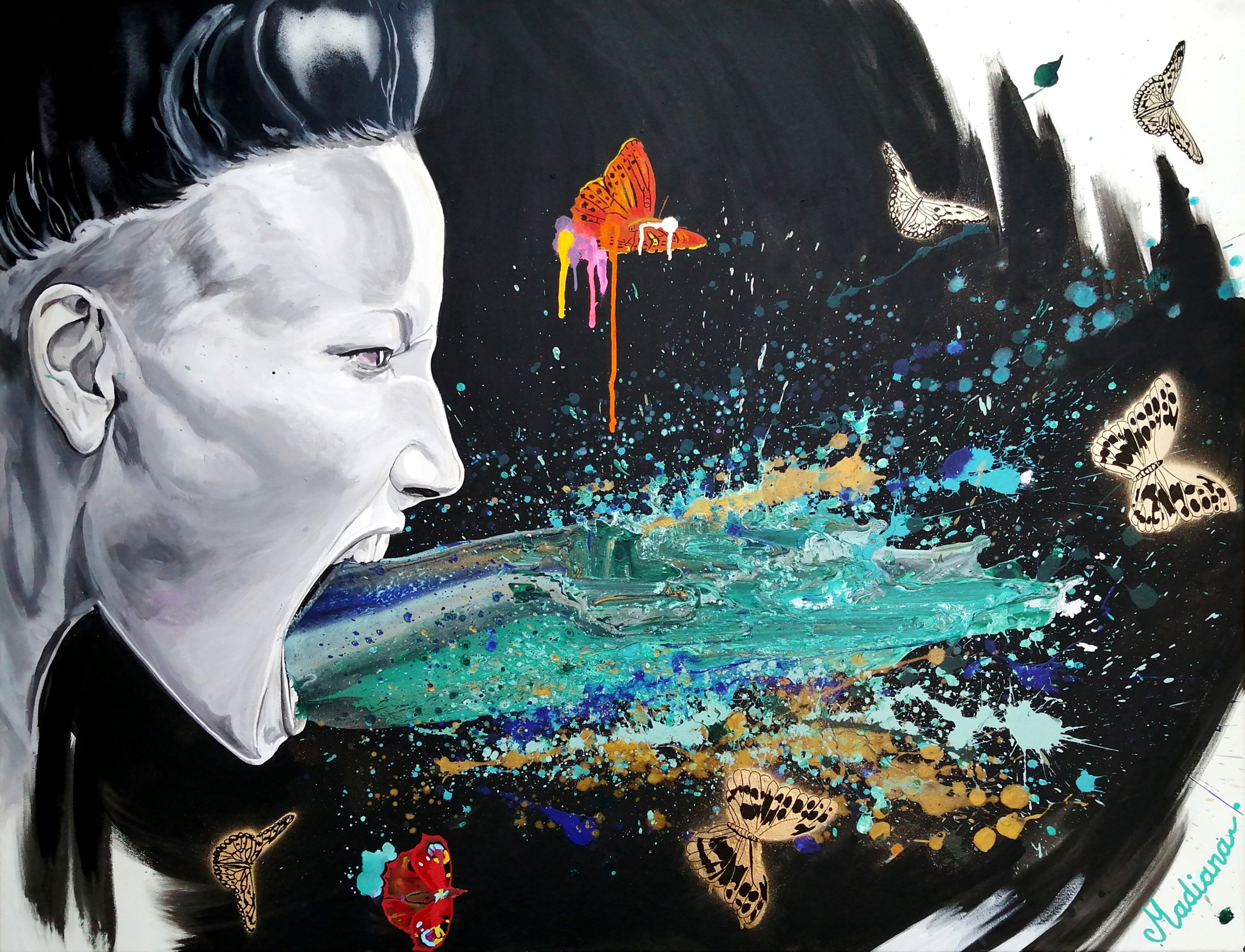 reproduction toile peinture art contemporain street cri femme multicolore