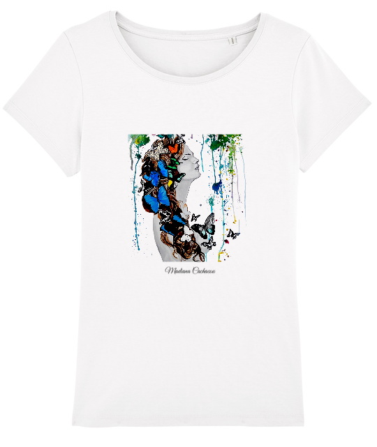 tee shirt art peinture tache multicolore femme noir et blanc