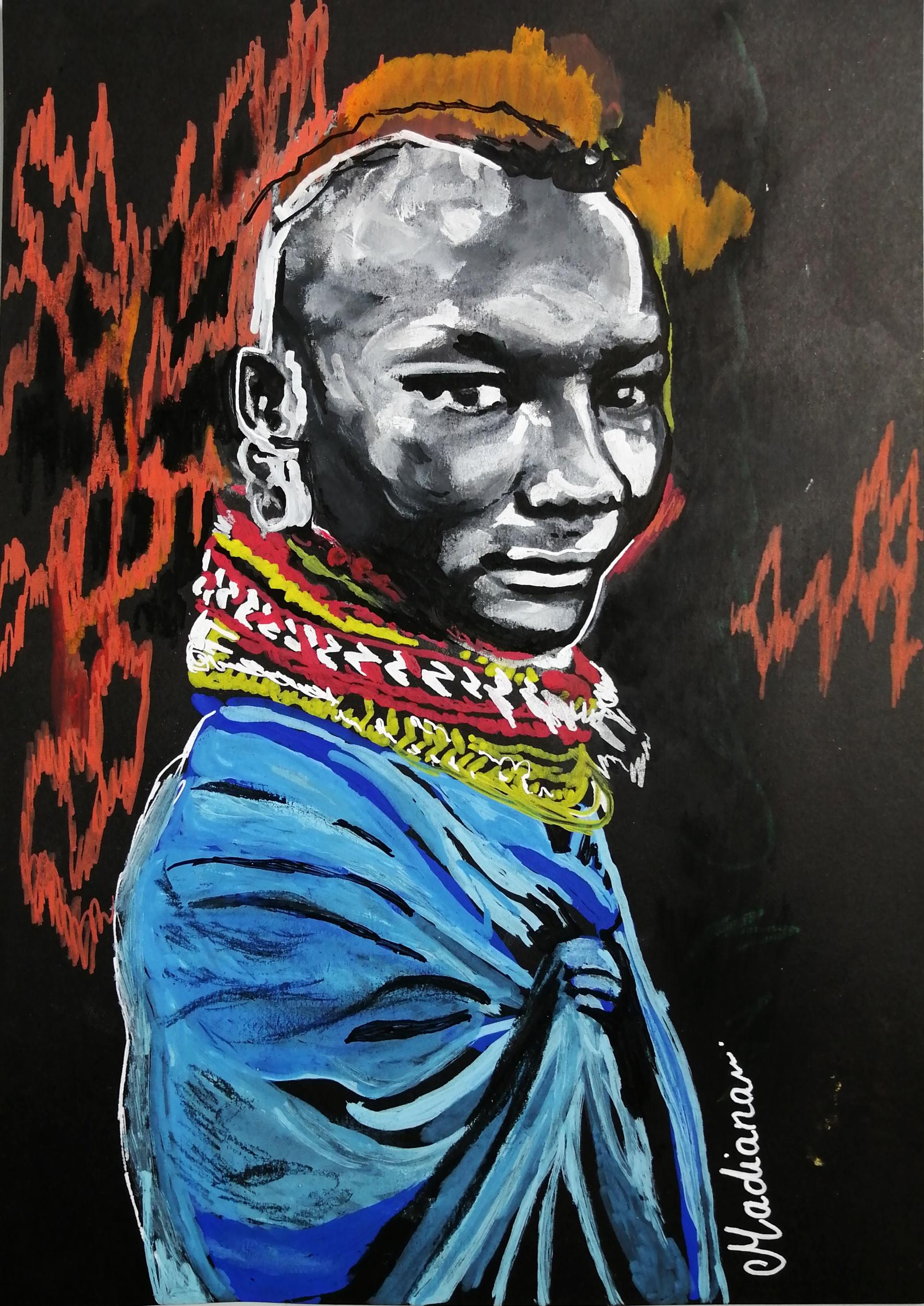 dessin art guerrier massaï ethnique afrique