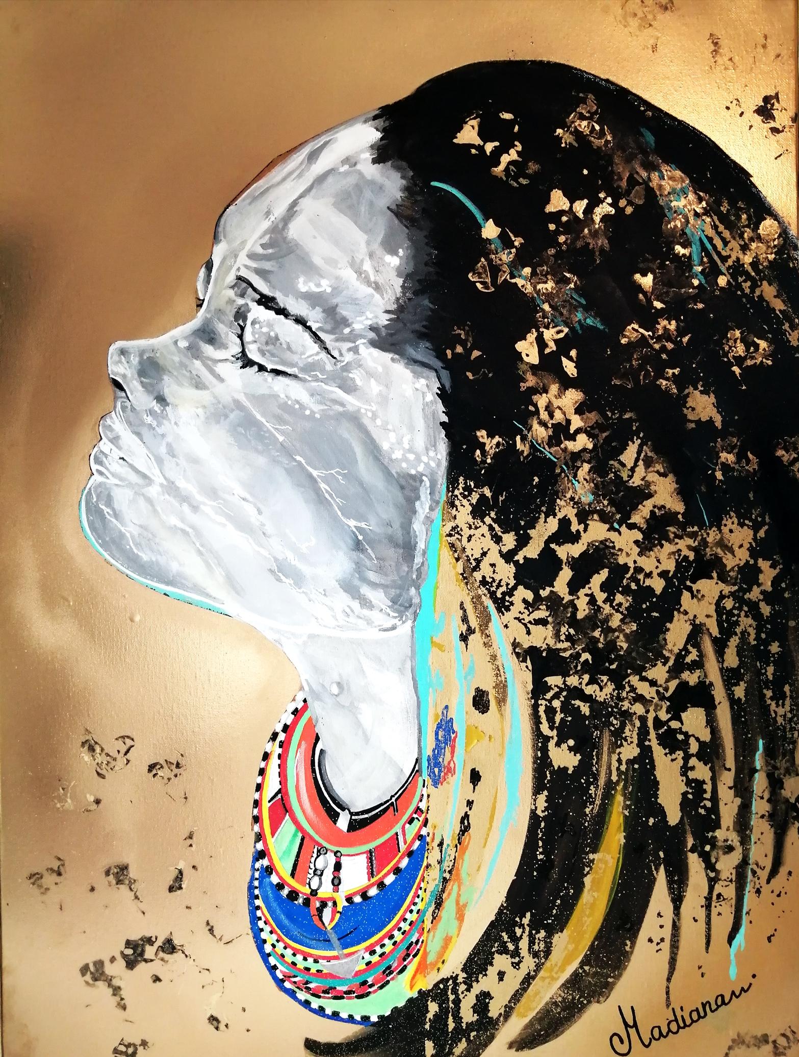 affiche reproduction art contemporain femme indienne africaine massaï