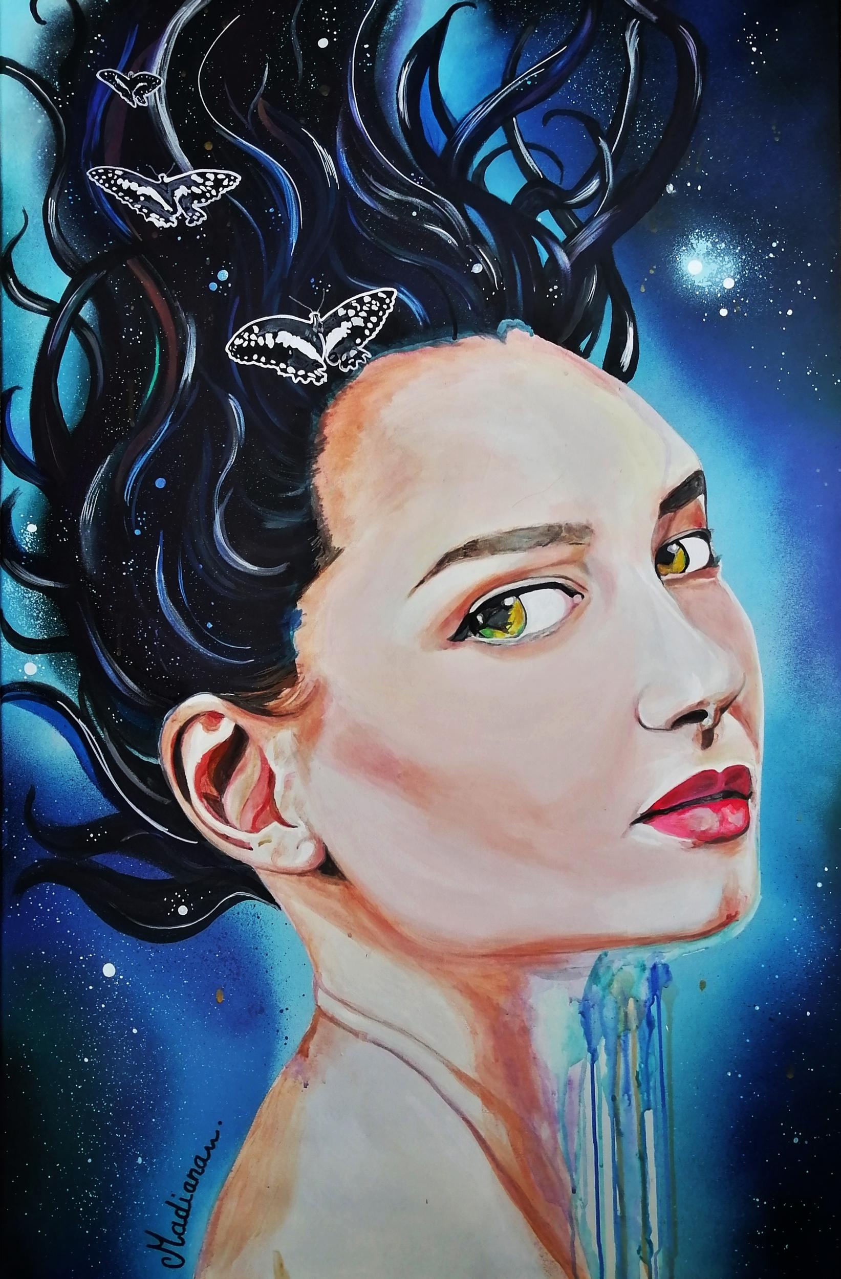 affiche art contemporain artiste femme portrait cosmos espace