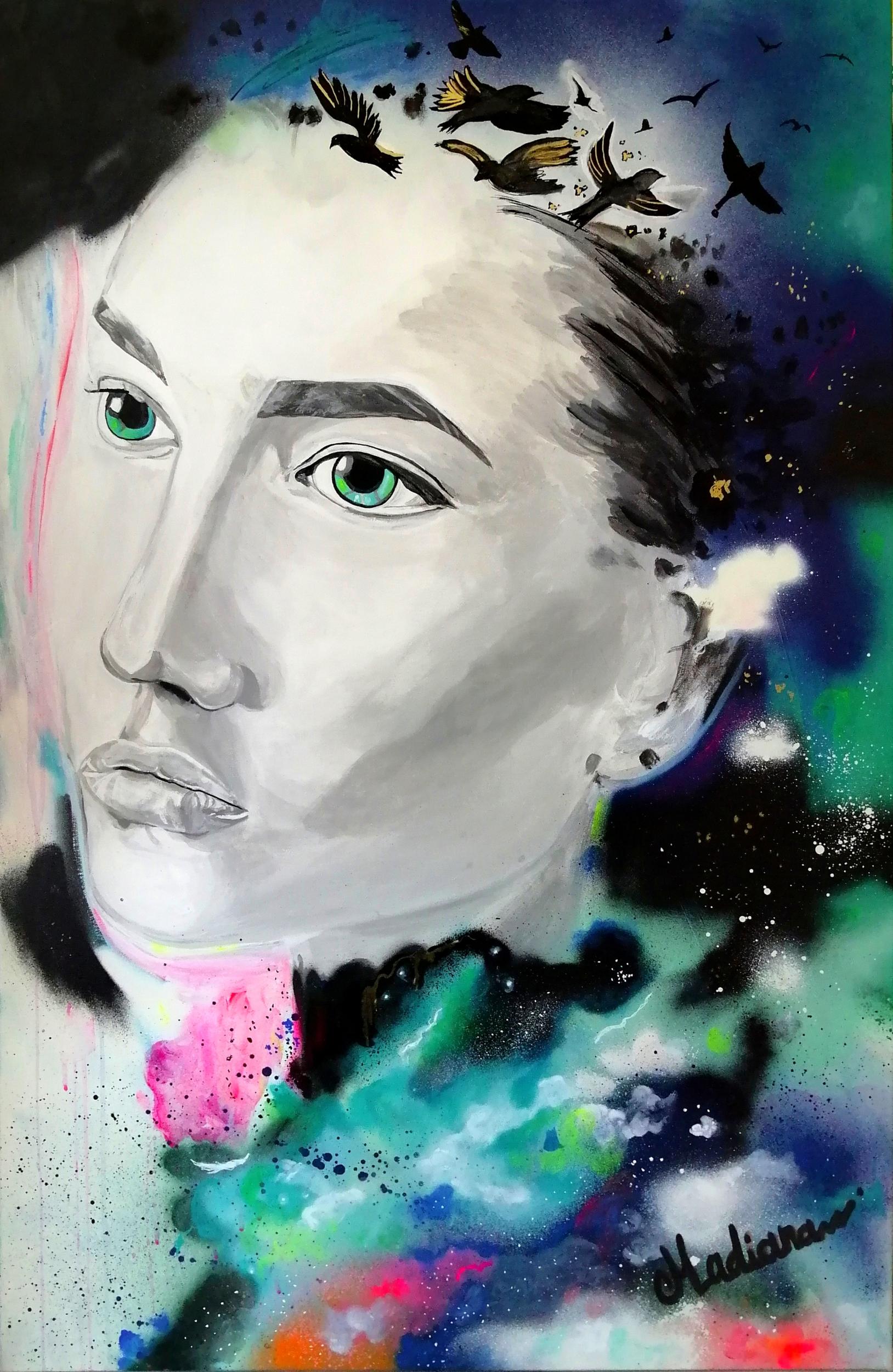 tableau art contemporain portrait street art noir et blanc multicolore oiseau liberté
