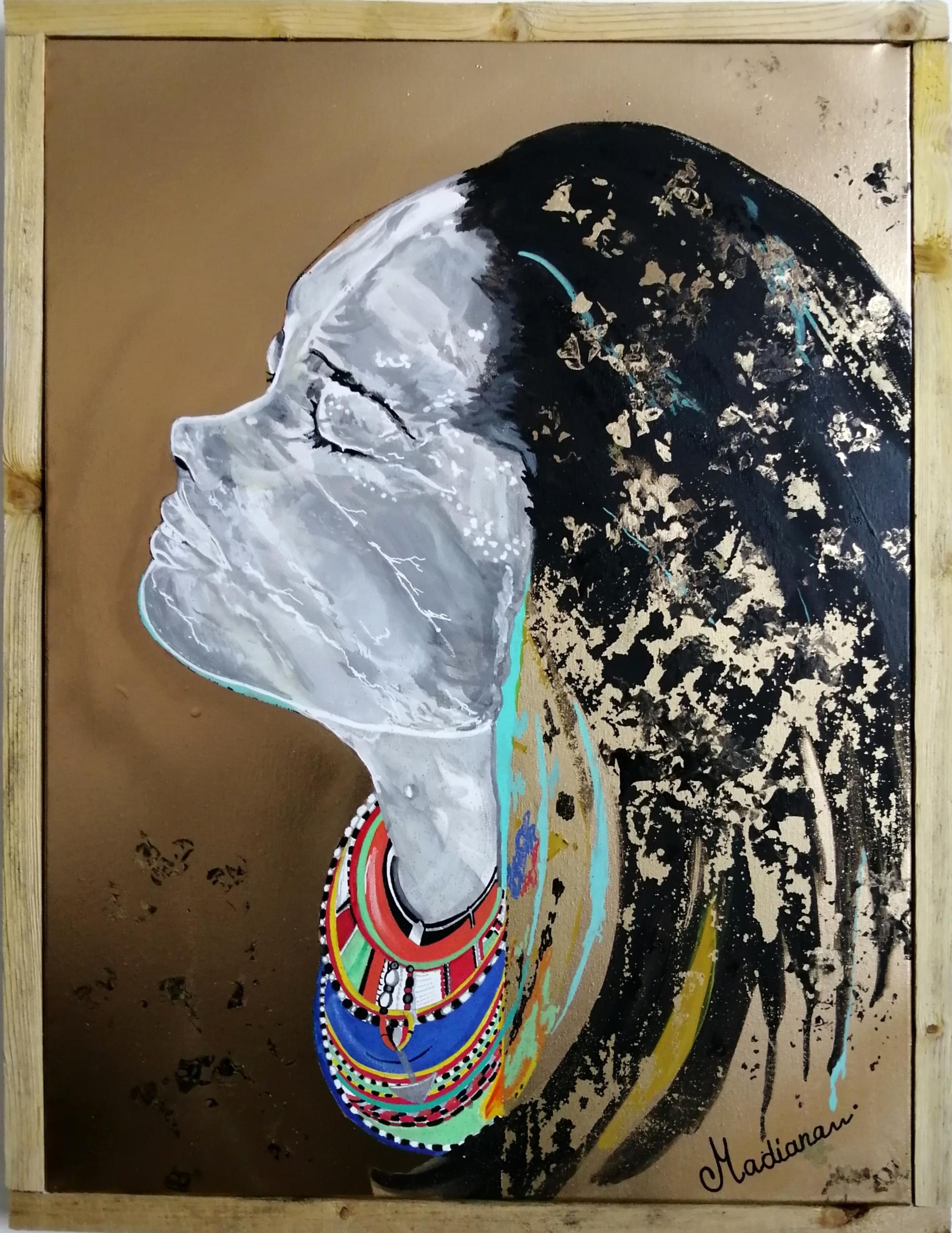 tableau art contemporain femme indienne africaine massaï doré cadre bois