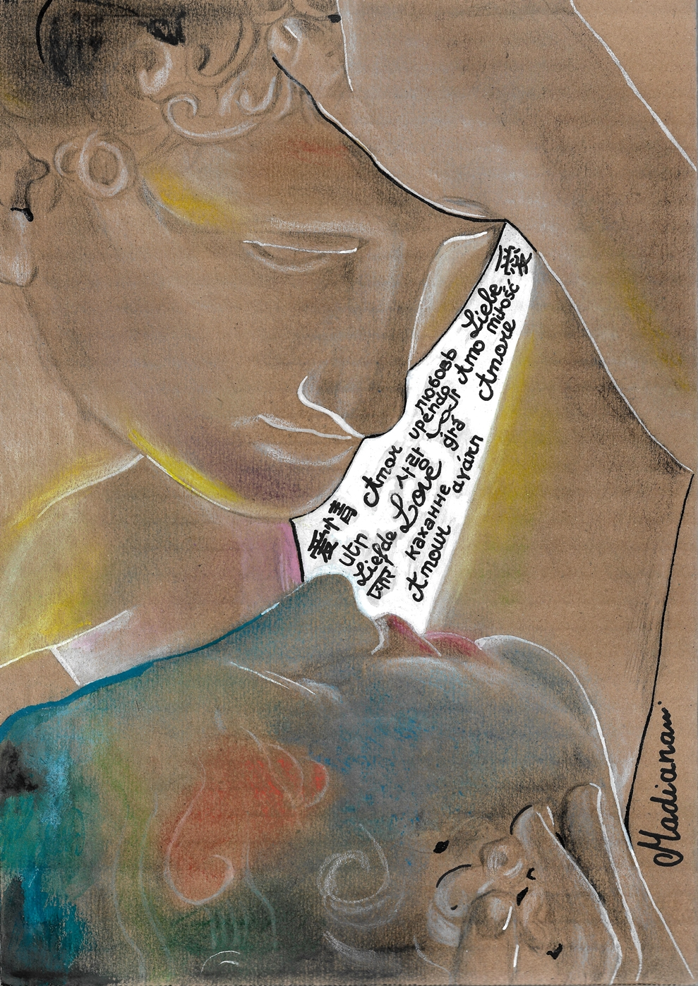 dessin art contemporain amour et psychée canova fusain pastel carton couleur