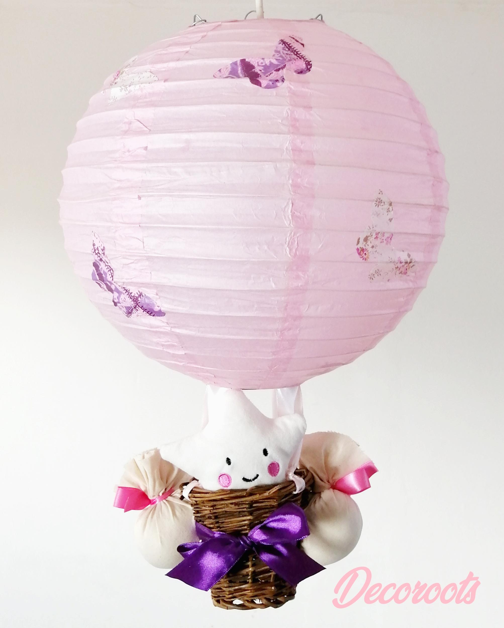 lampe montgolfière enfant bébé fille étoile papillon rose parme
