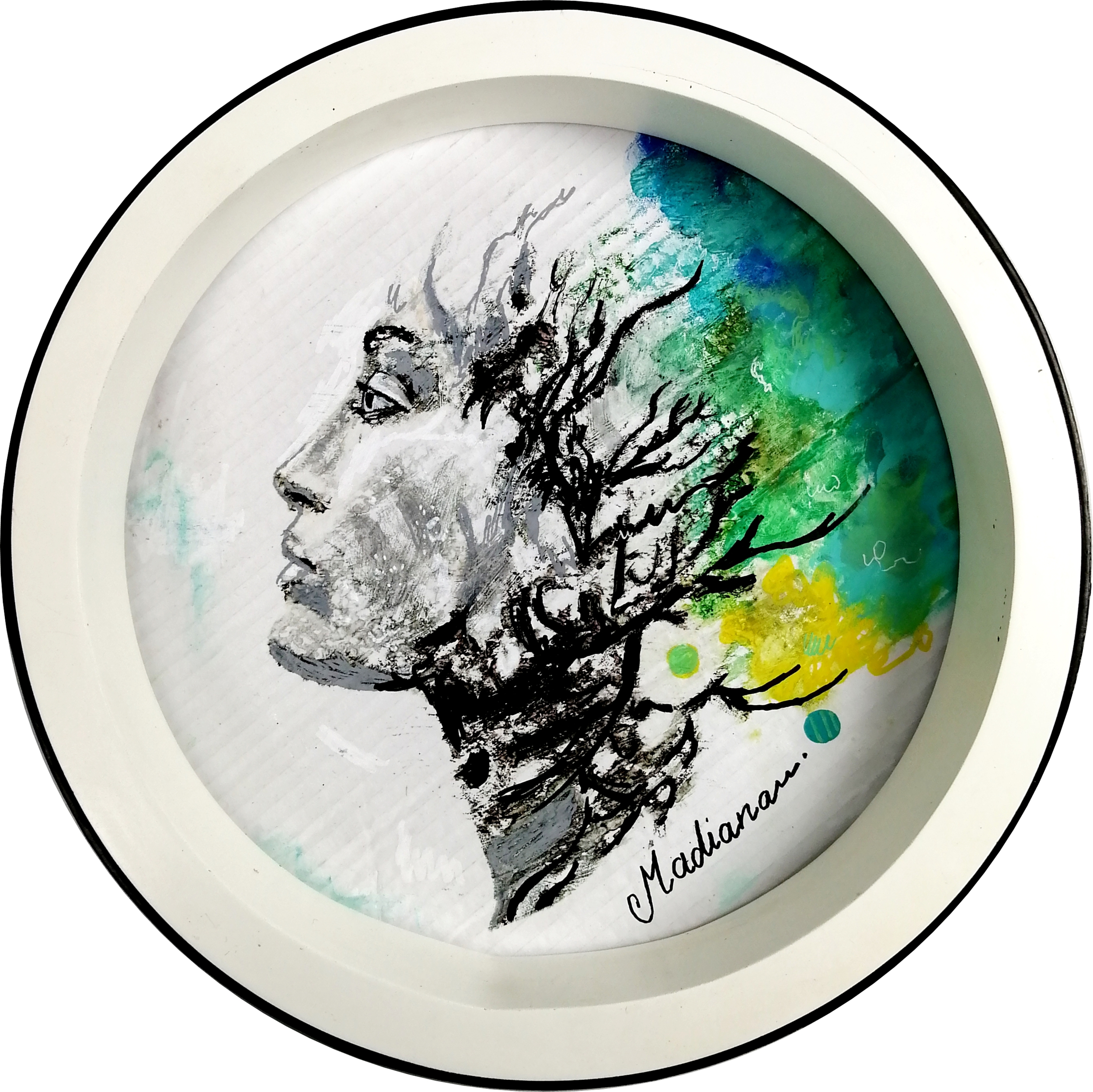 impression art contemporain femme noir et blanc multicolore ethnique