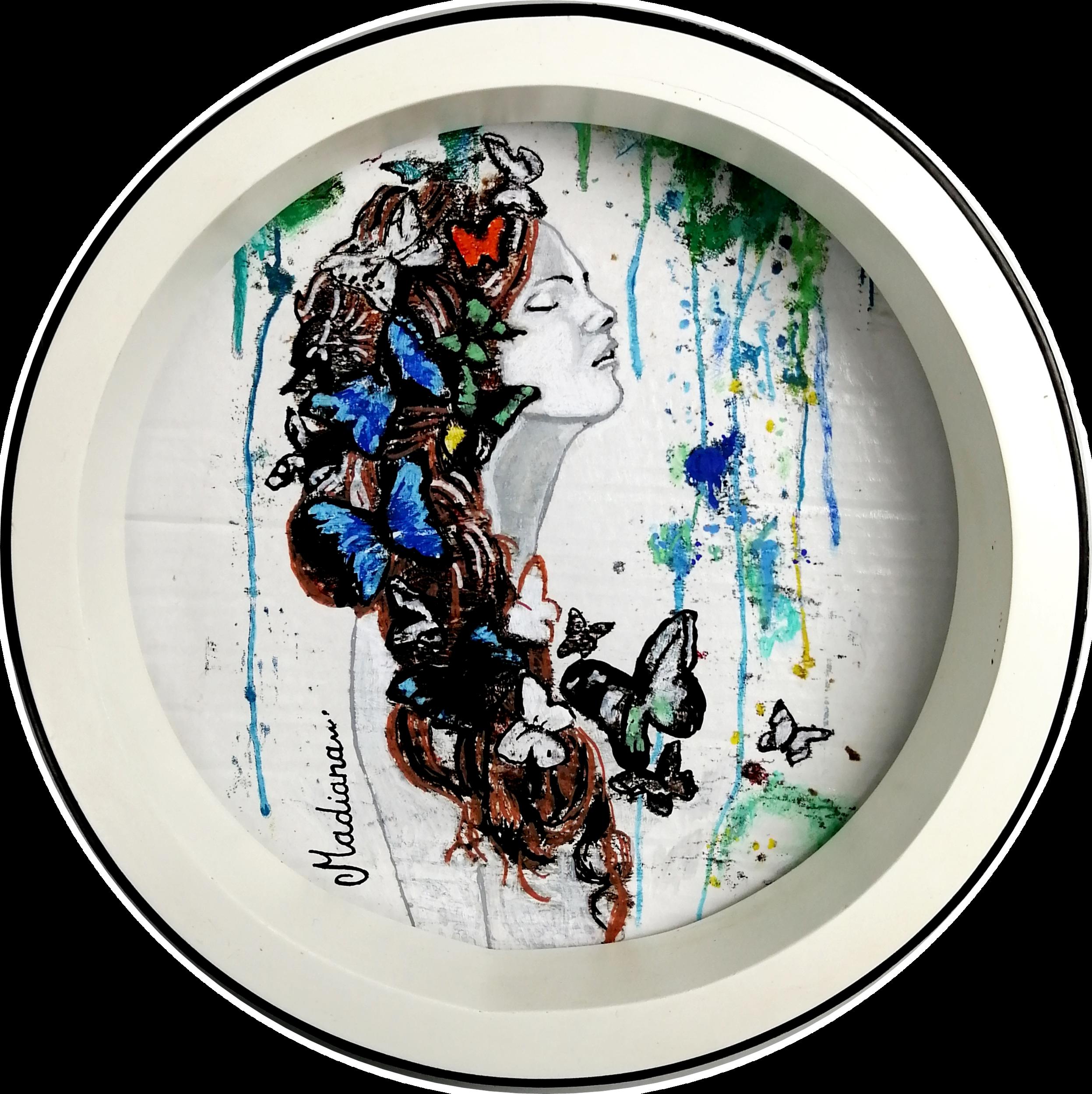 impression art contemporain femme noir et blanc multicolore papillon 2