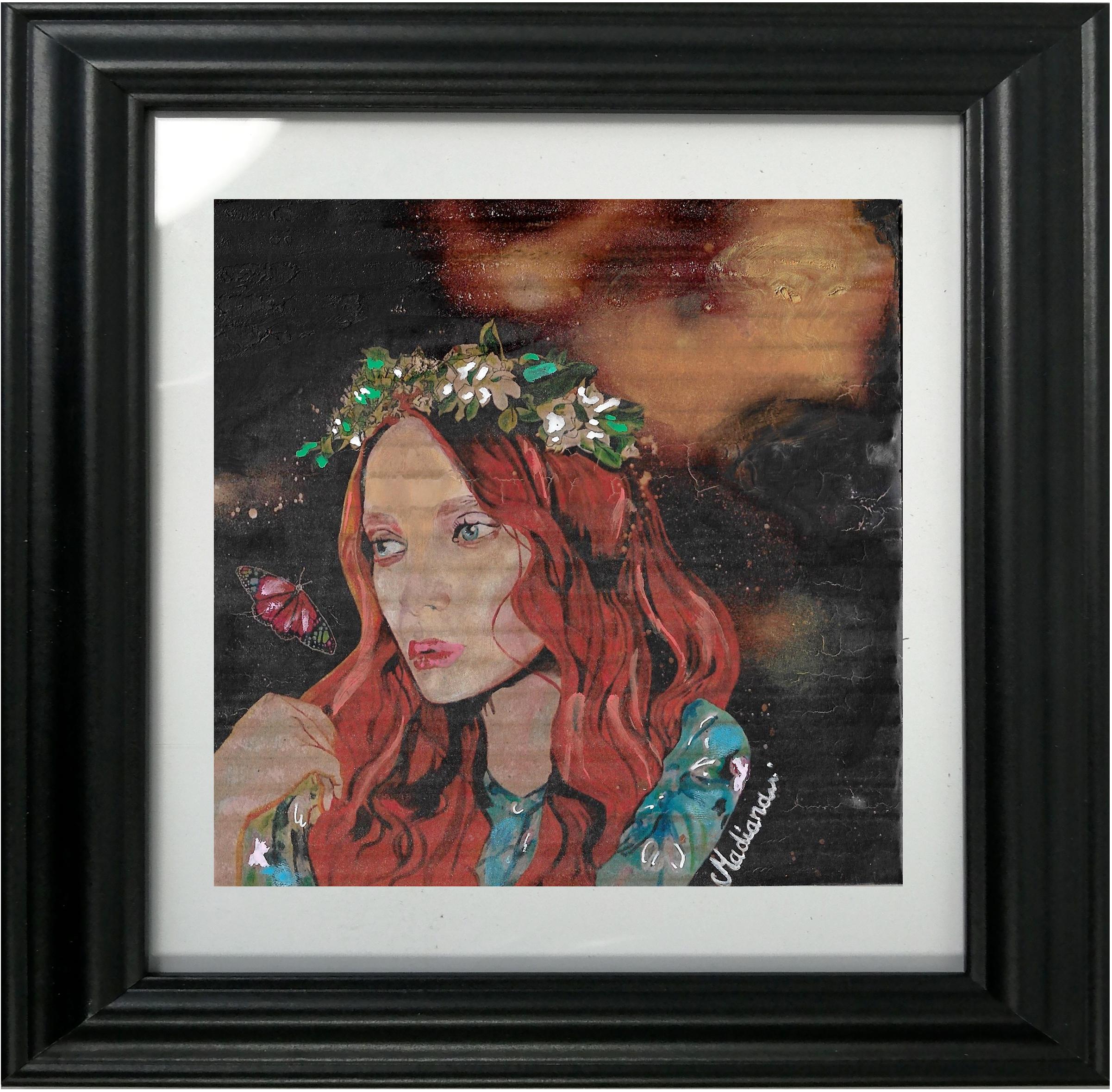 impression art carton l'effet papillon espace univers étoile femme peinture cadre décoration
