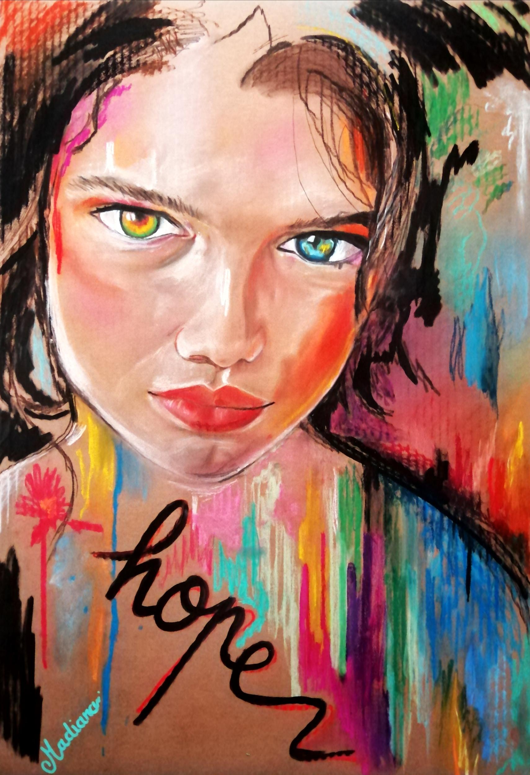 dessin art contemporain carton hope visage portrait femme multicolore