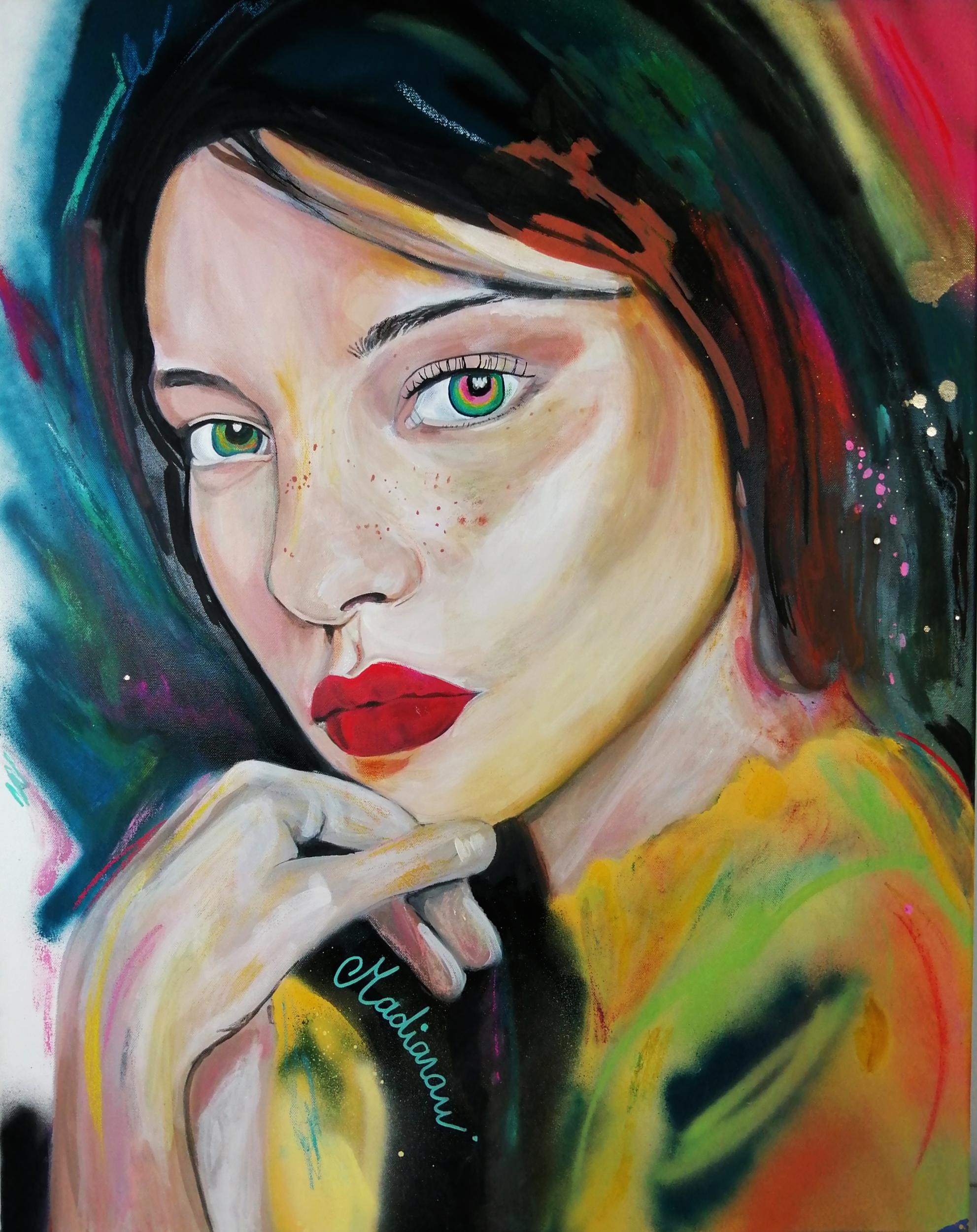 affiche art contemporain portrait femme multicolore home sweet home 2