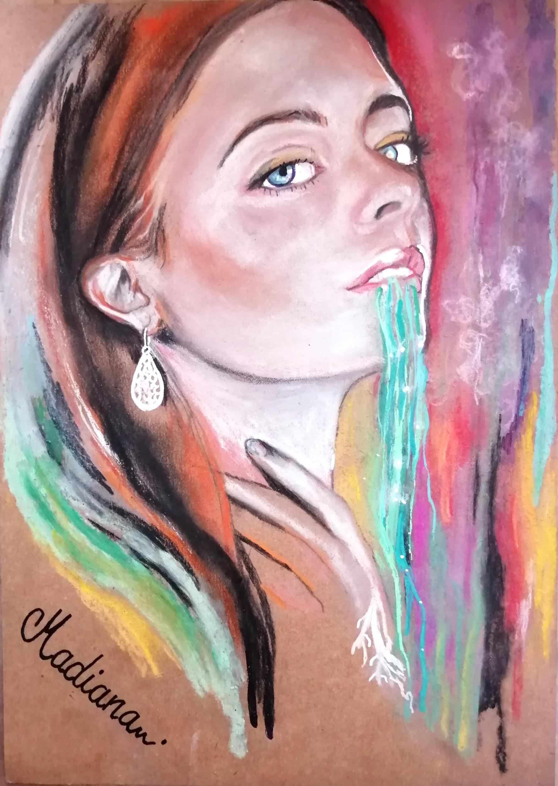 dessin art contemporain portrait femme multicolore boomerang
